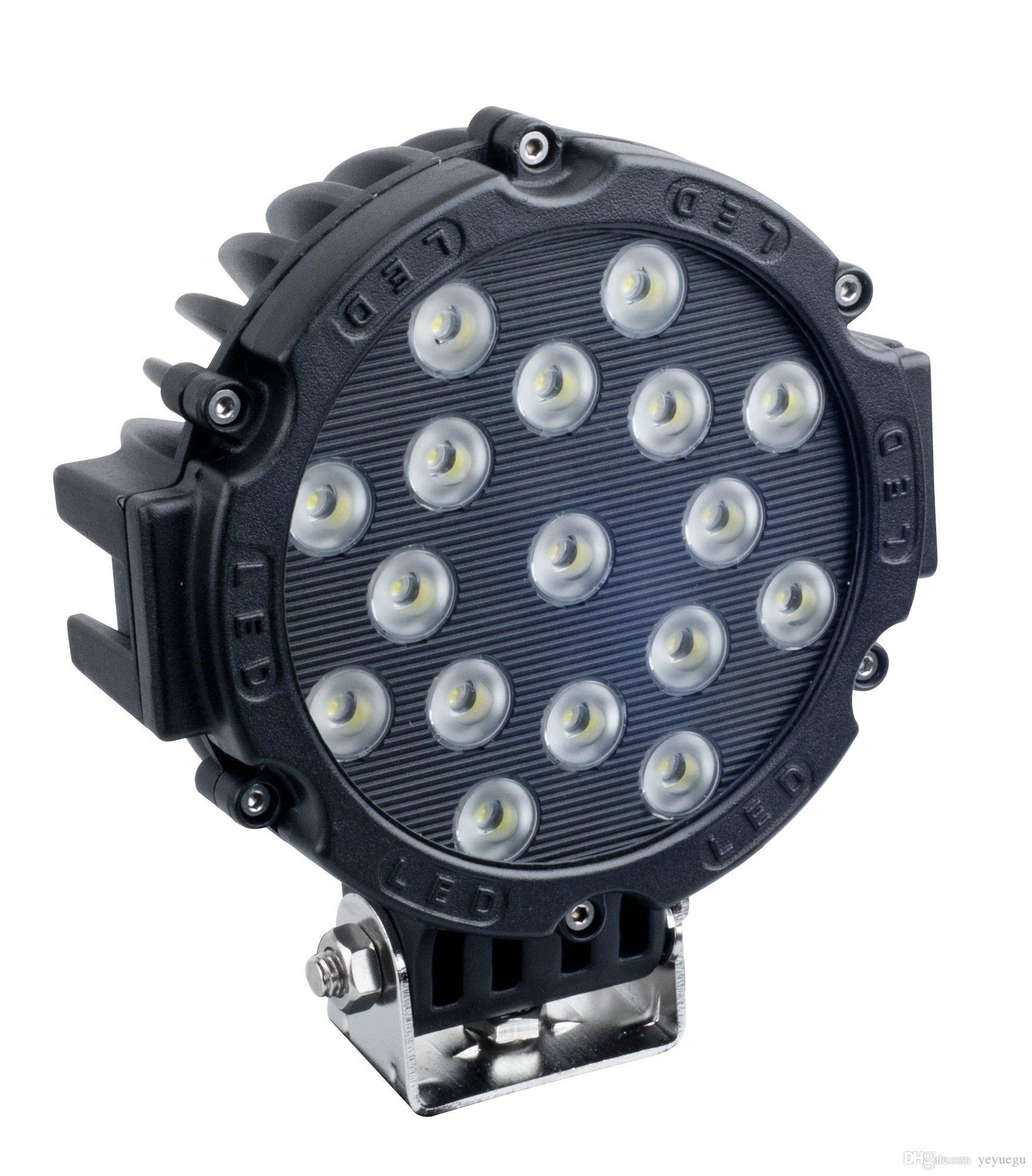 7inch 51w Car Round Led Work Light 12v High Power 17 X 3w Spot Light ...