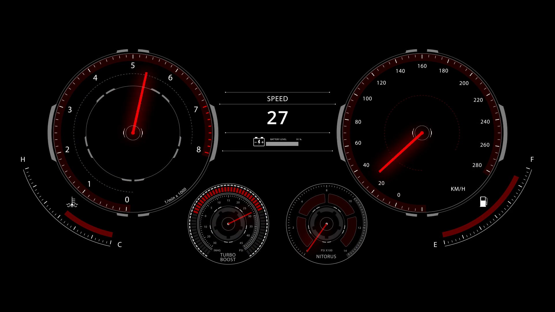 Digital optitron speedometer of car driving with acceleration ...