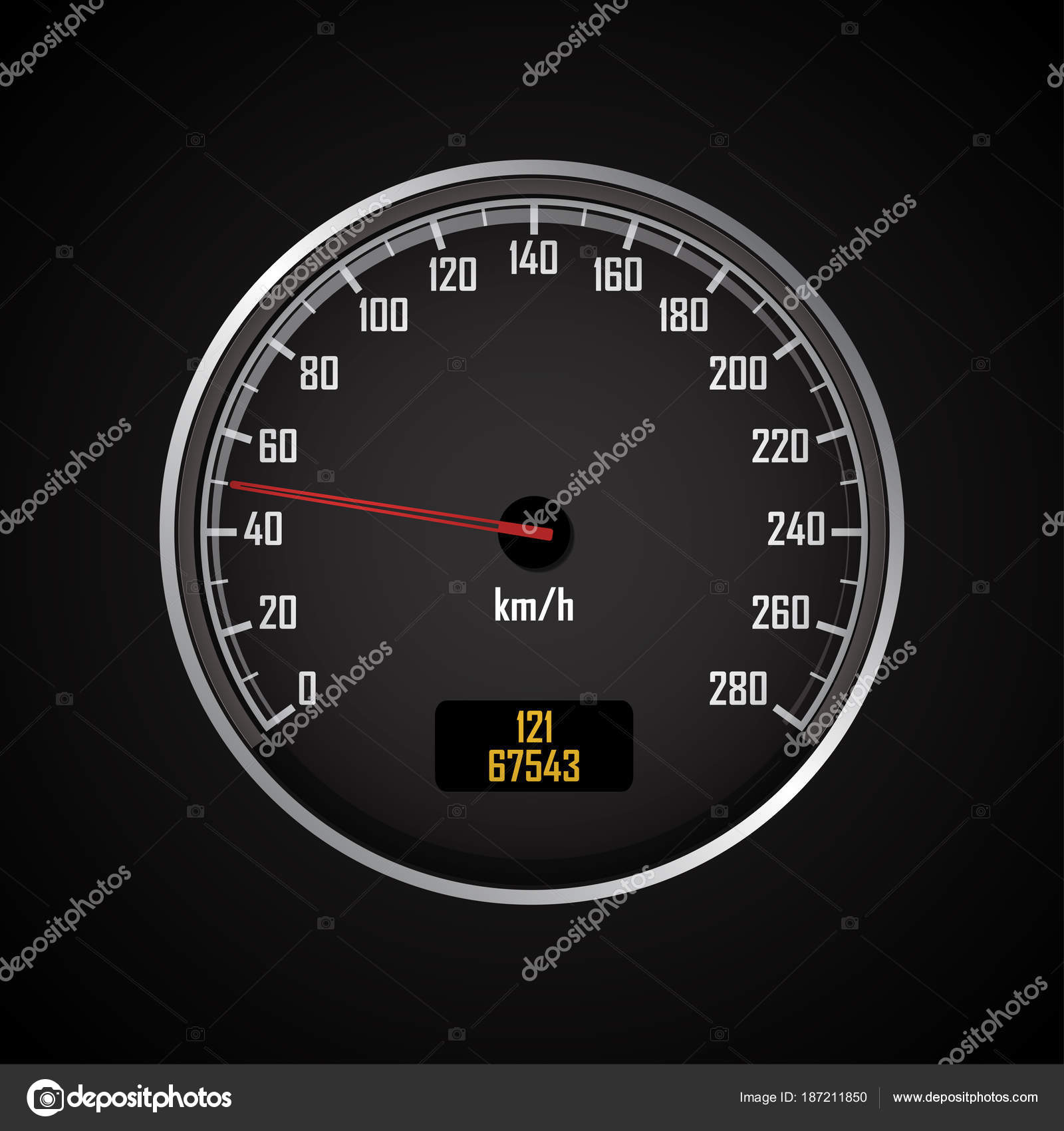 Speedometers. Round black gauge with and without chrome frame ...