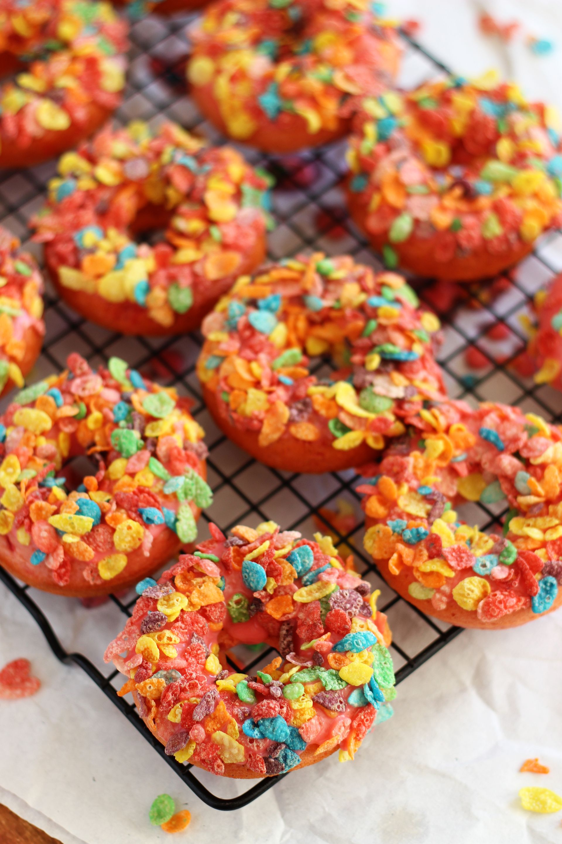 Baked Cherry Donuts with Fruity Pebbles - The Gold Lining Girl