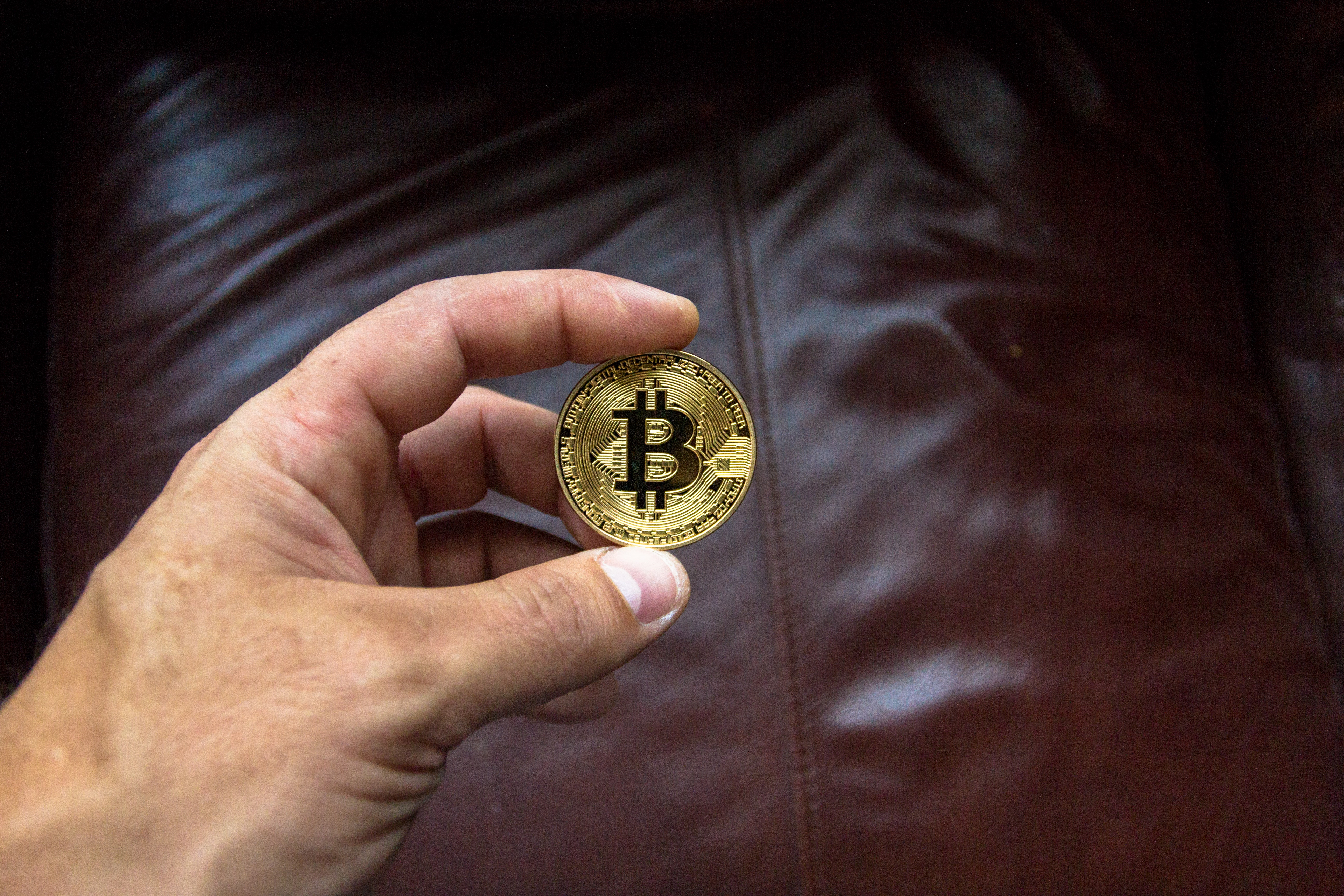 Round Gold-colored and Black Coin on Person's Hand, Bitcoin, Close-up, Coin, Commerce, HQ Photo