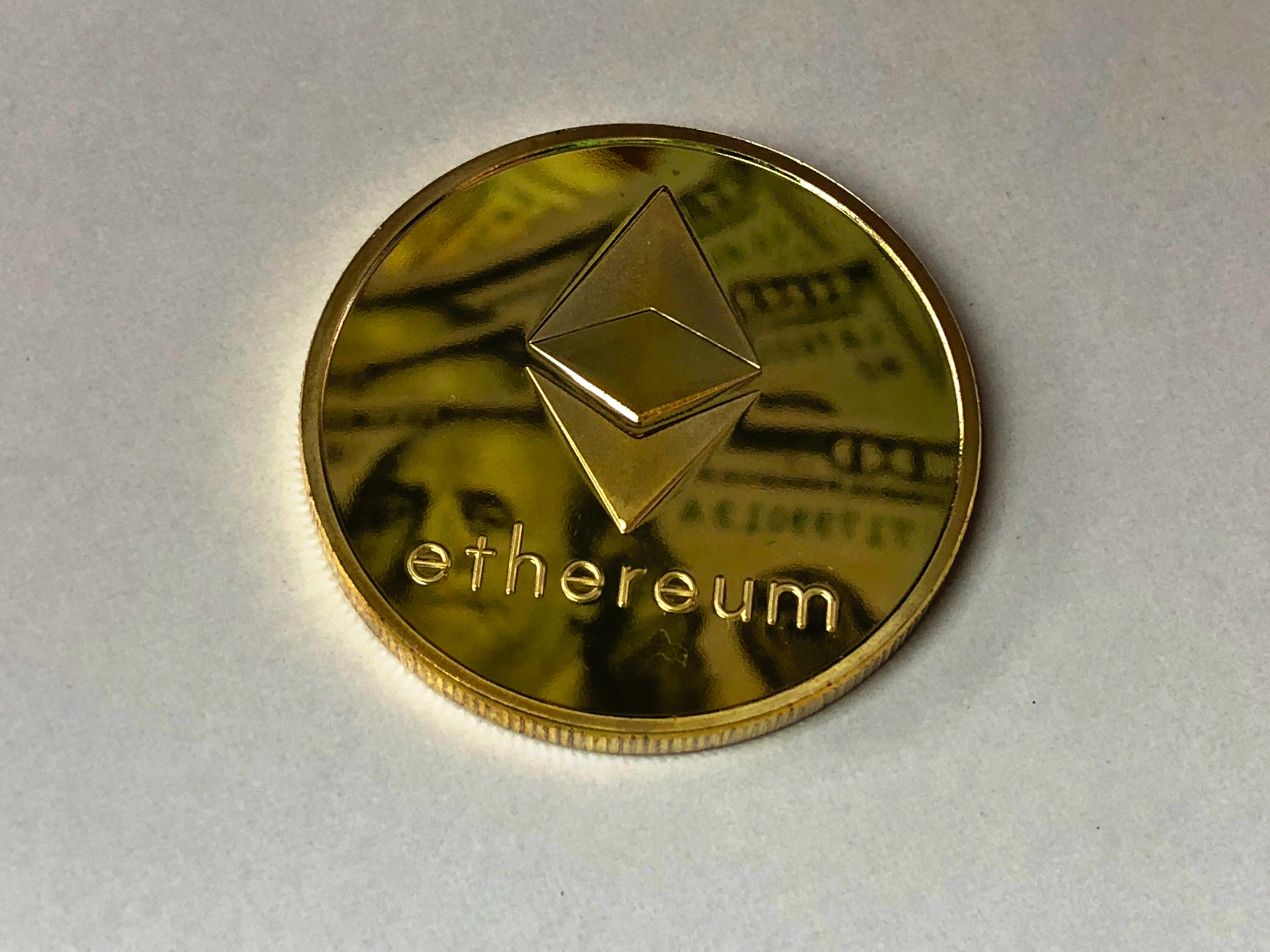 Round Gold-colored Ethereum Ornament, Achievement, Investment, Time, Text, HQ Photo