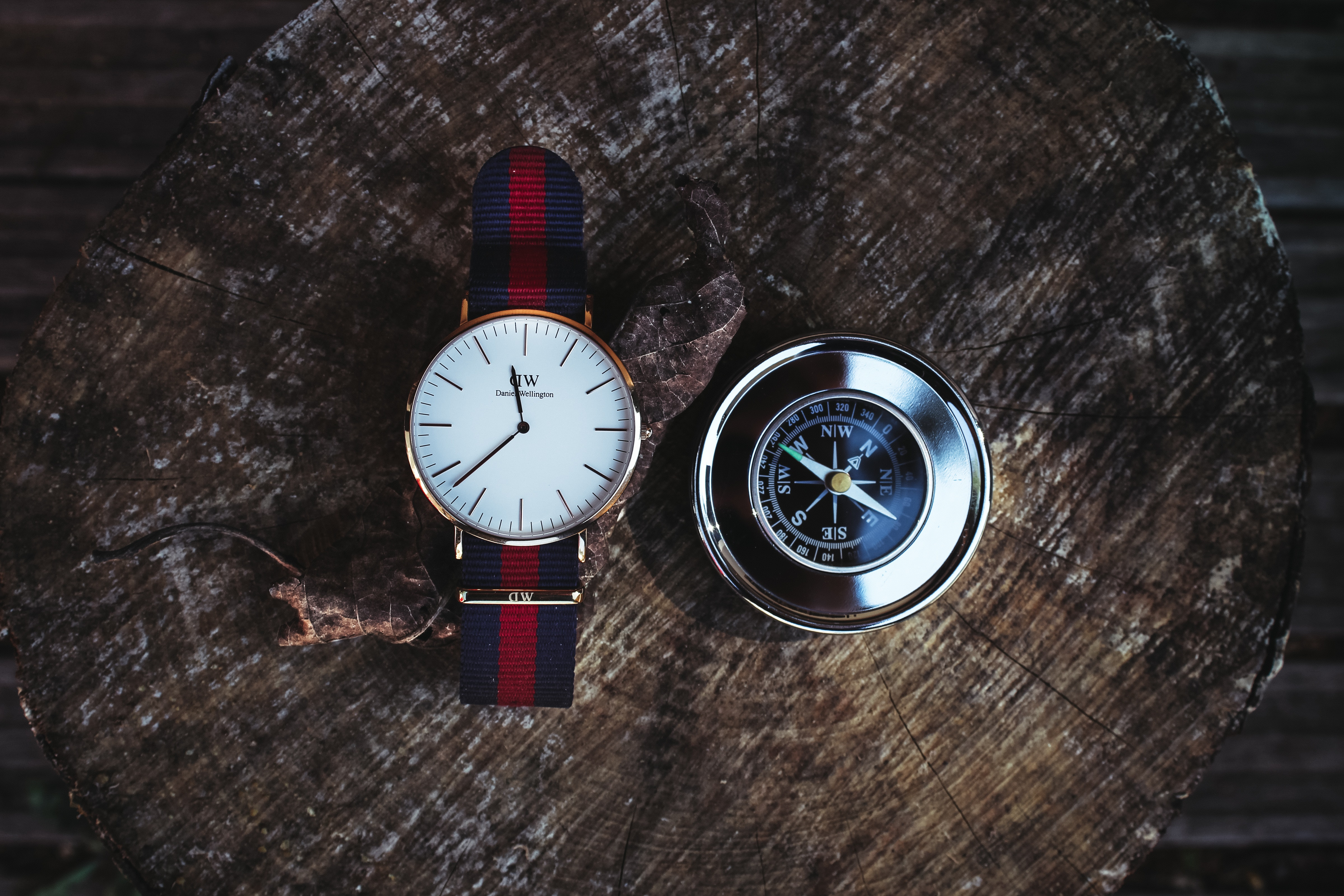 Round Silver-colored Analog Watch Beside Compass, Analogue, Precision, Wood, Watch, HQ Photo