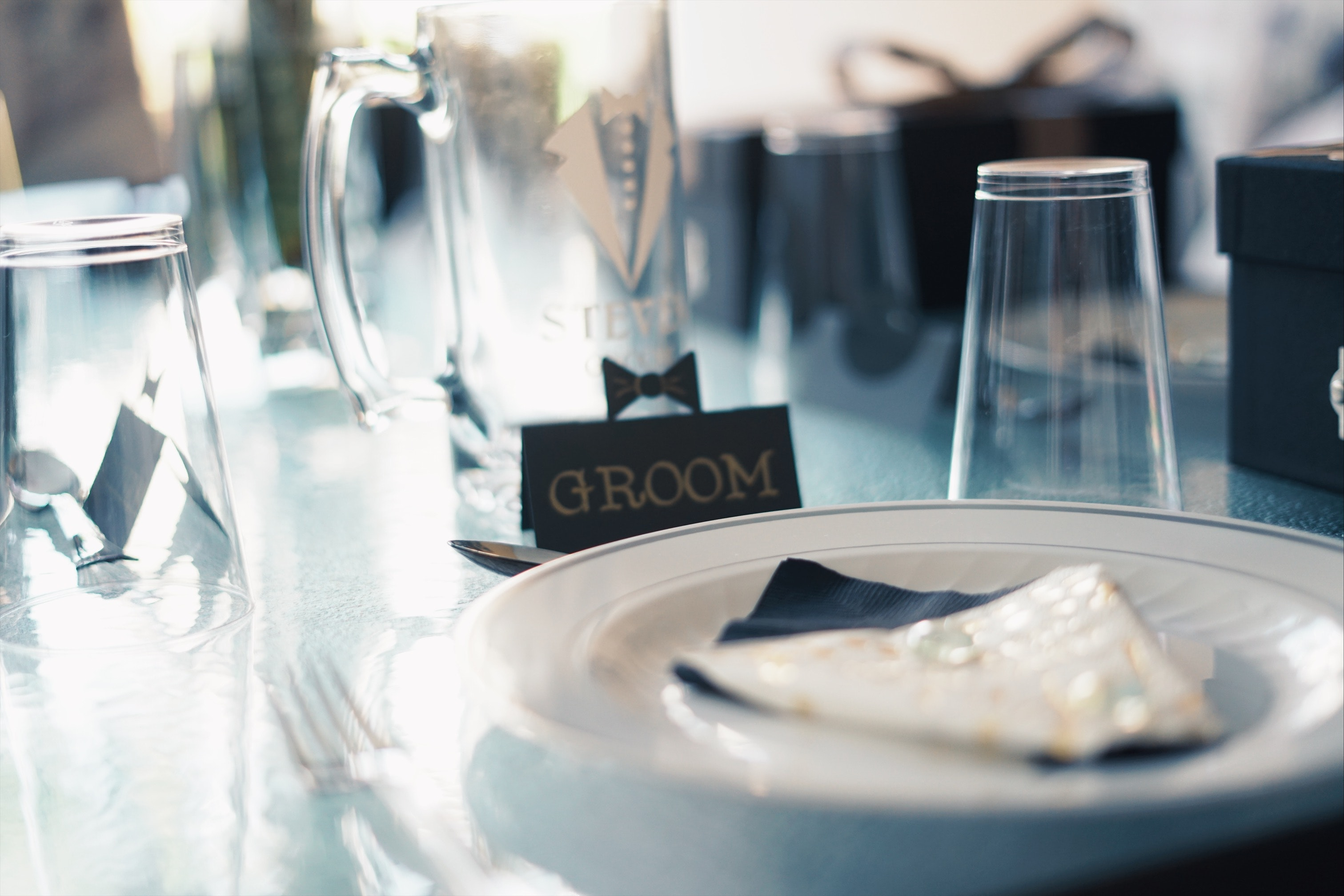 Round White Ceramic Plate Near Glass Cups and Groom Sign, Luxury, Wedding, Text, Tableware, HQ Photo