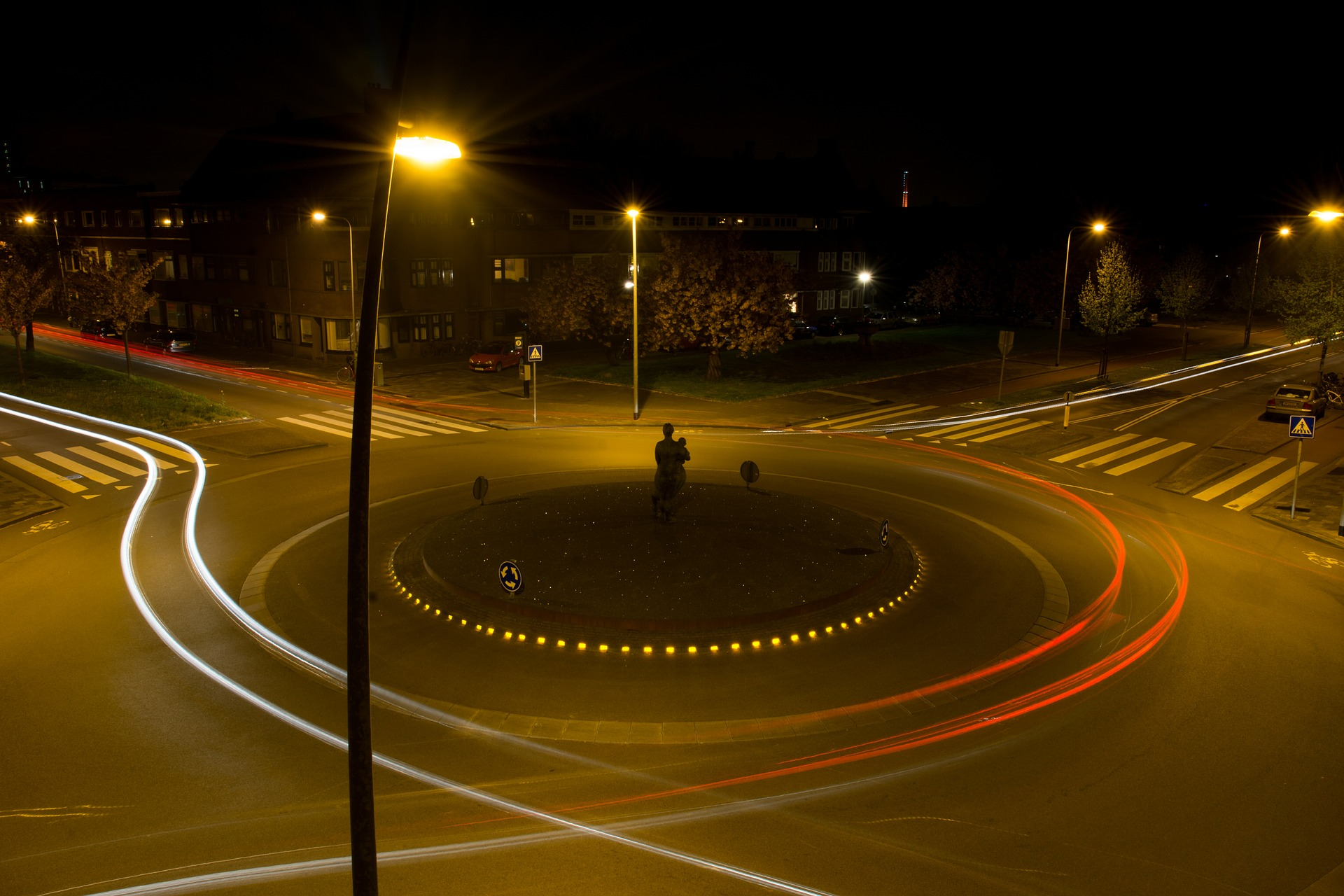 Roundabout Traffic, City, Highway, Light, Path, HQ Photo