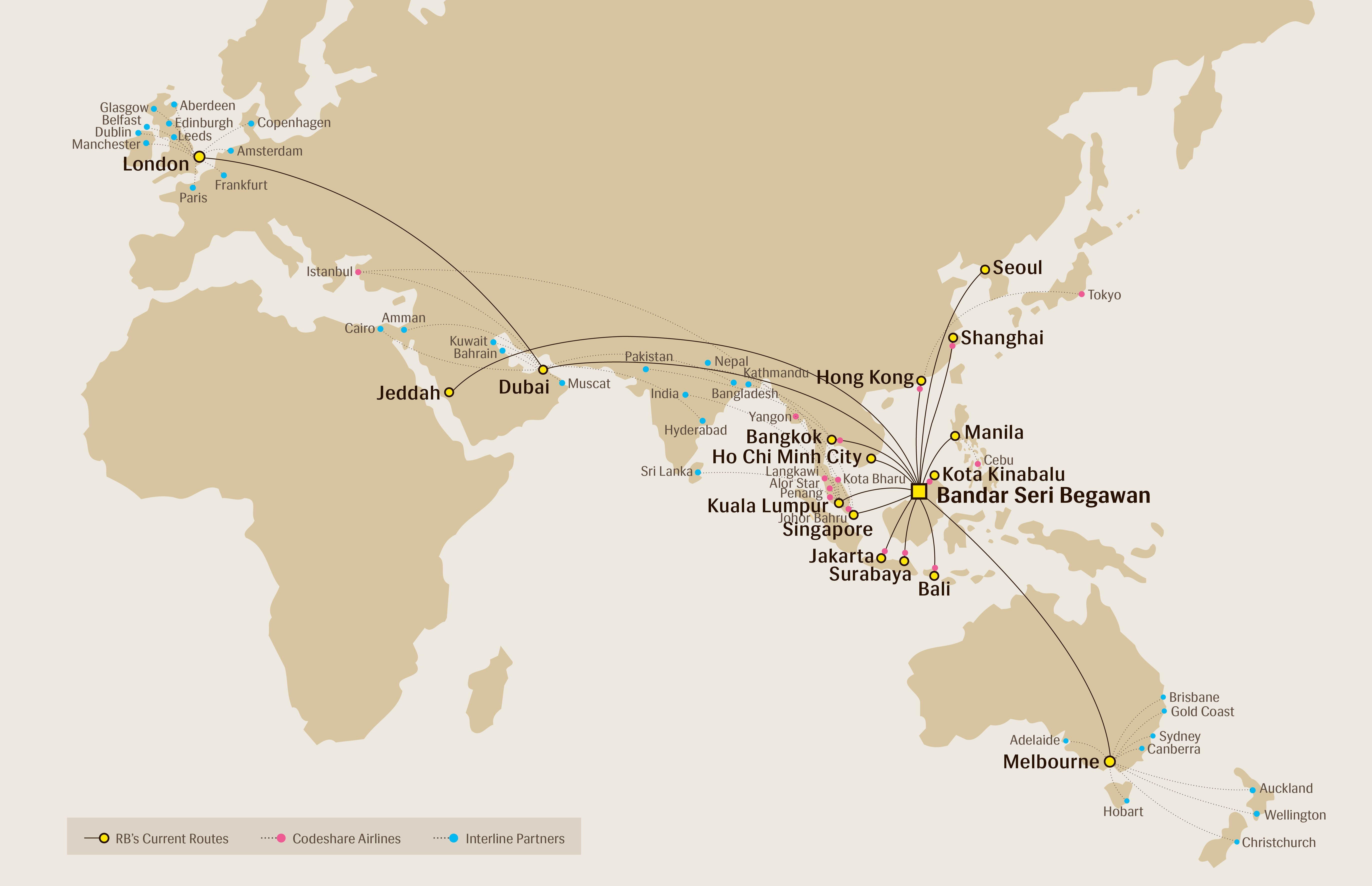 Route Map - Royal Brunei Airlines