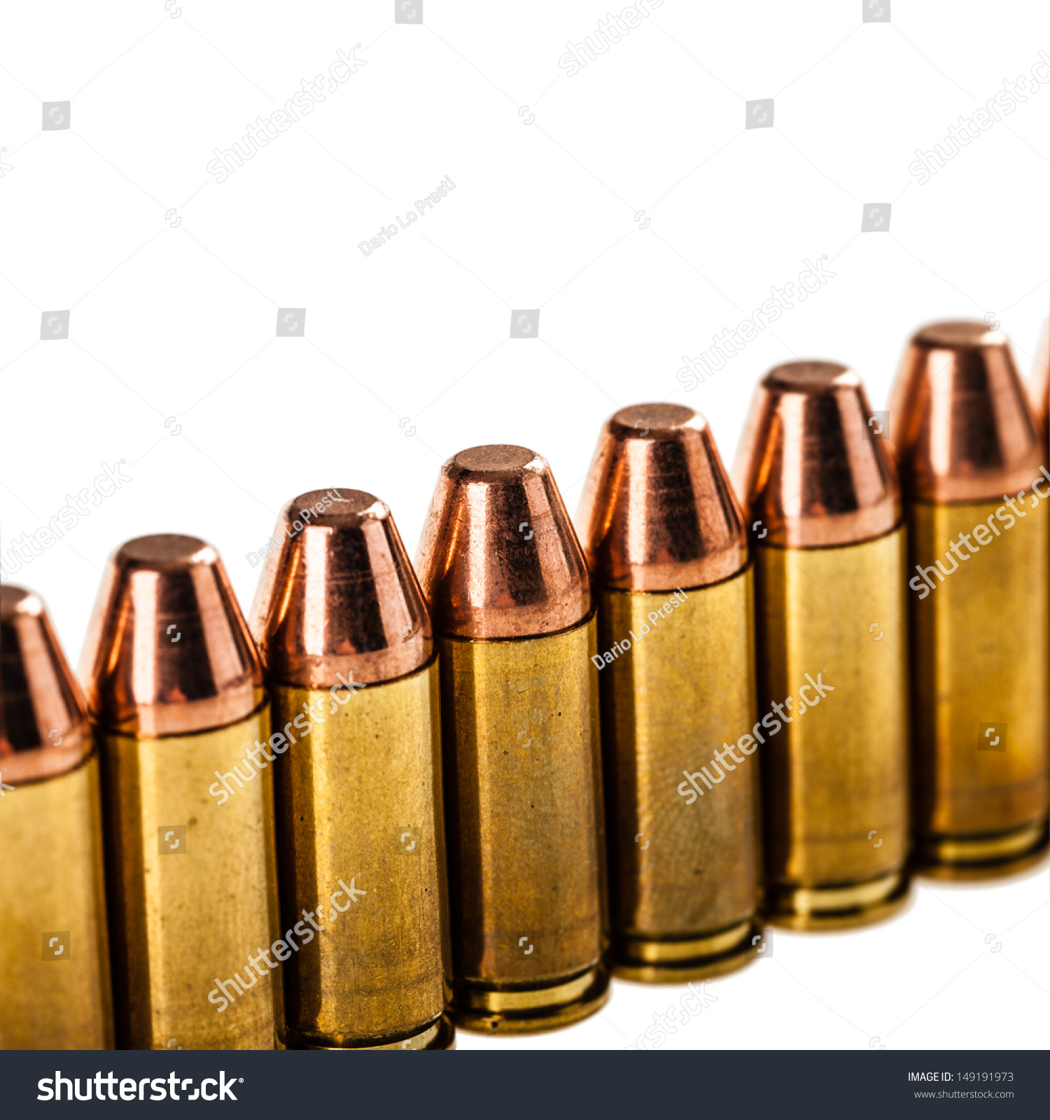 9mm Bullets Arranged Row Isolated Over Stock Photo 149191973 ...