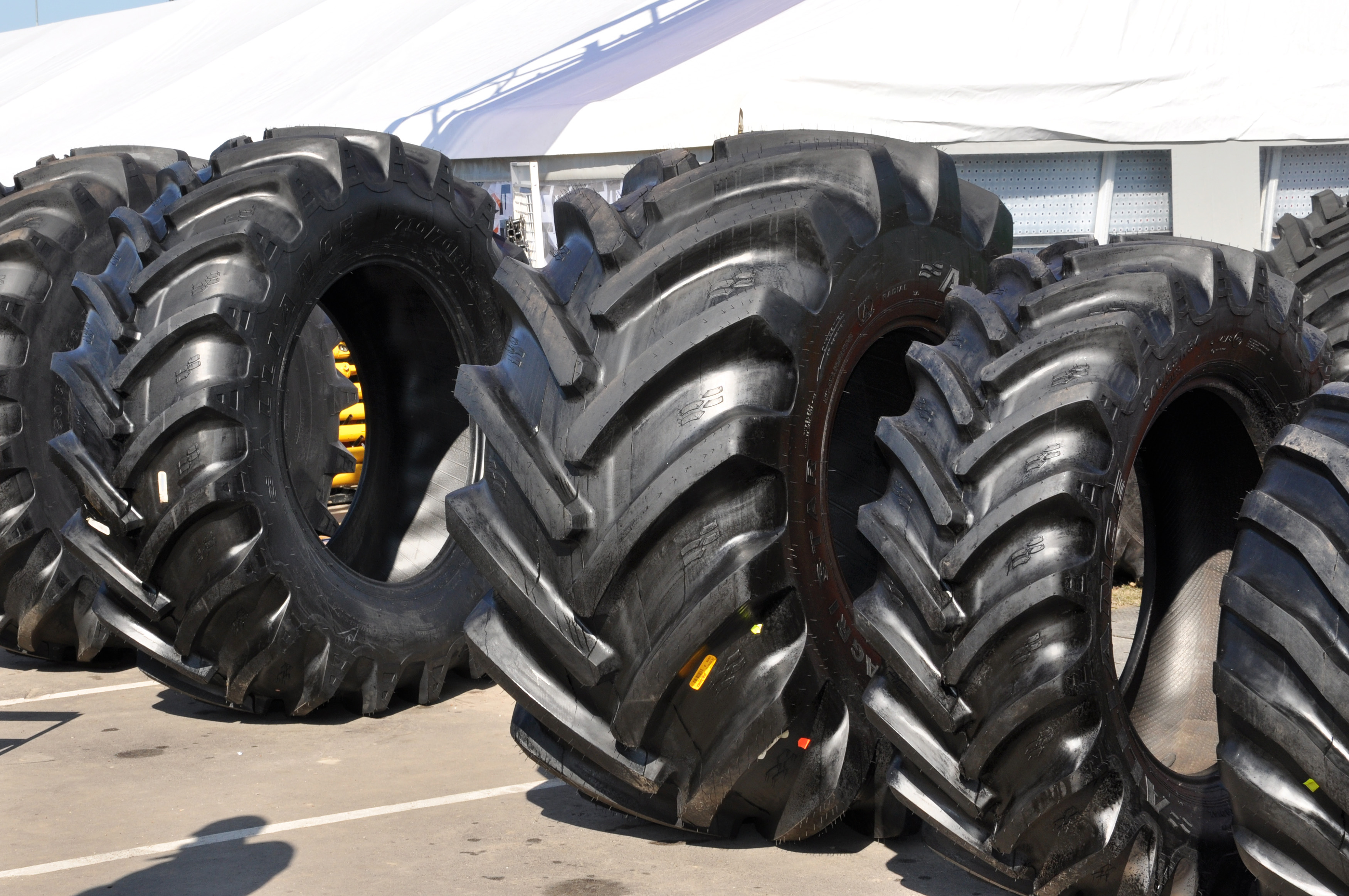 Row of tractor tyres photo
