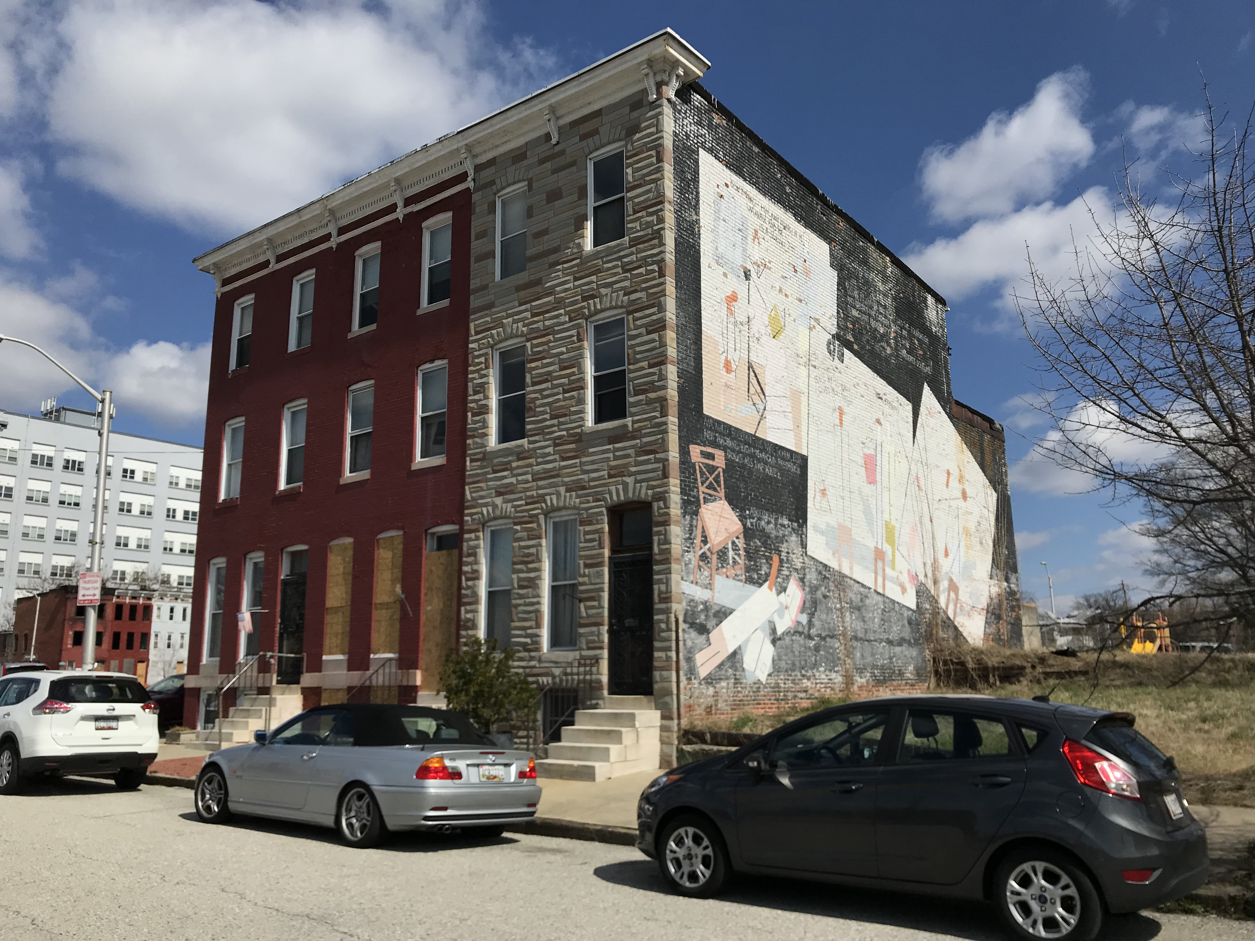 Rowhouse group and mural, 1105-1109 Brentwood Avenue, Baltimore, MD 21202, Public art, Mural, Road, Sign, HQ Photo