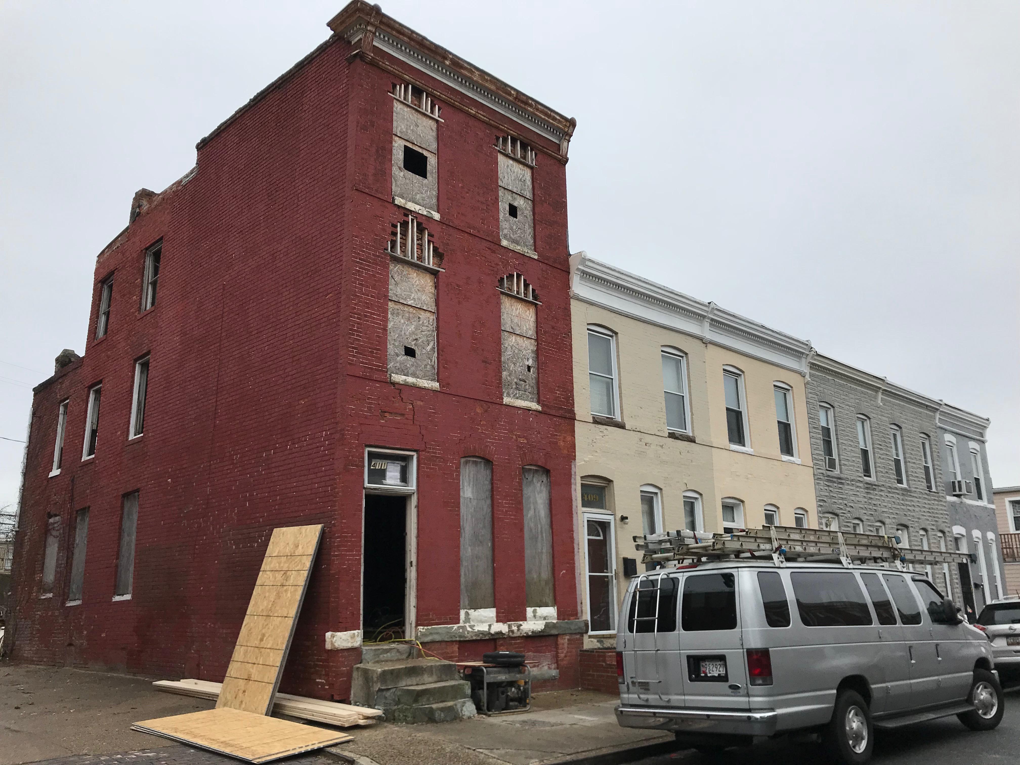 Rowhouse rehabilitation in progress, 411 e. 27th street, baltimore, md 21218 photo