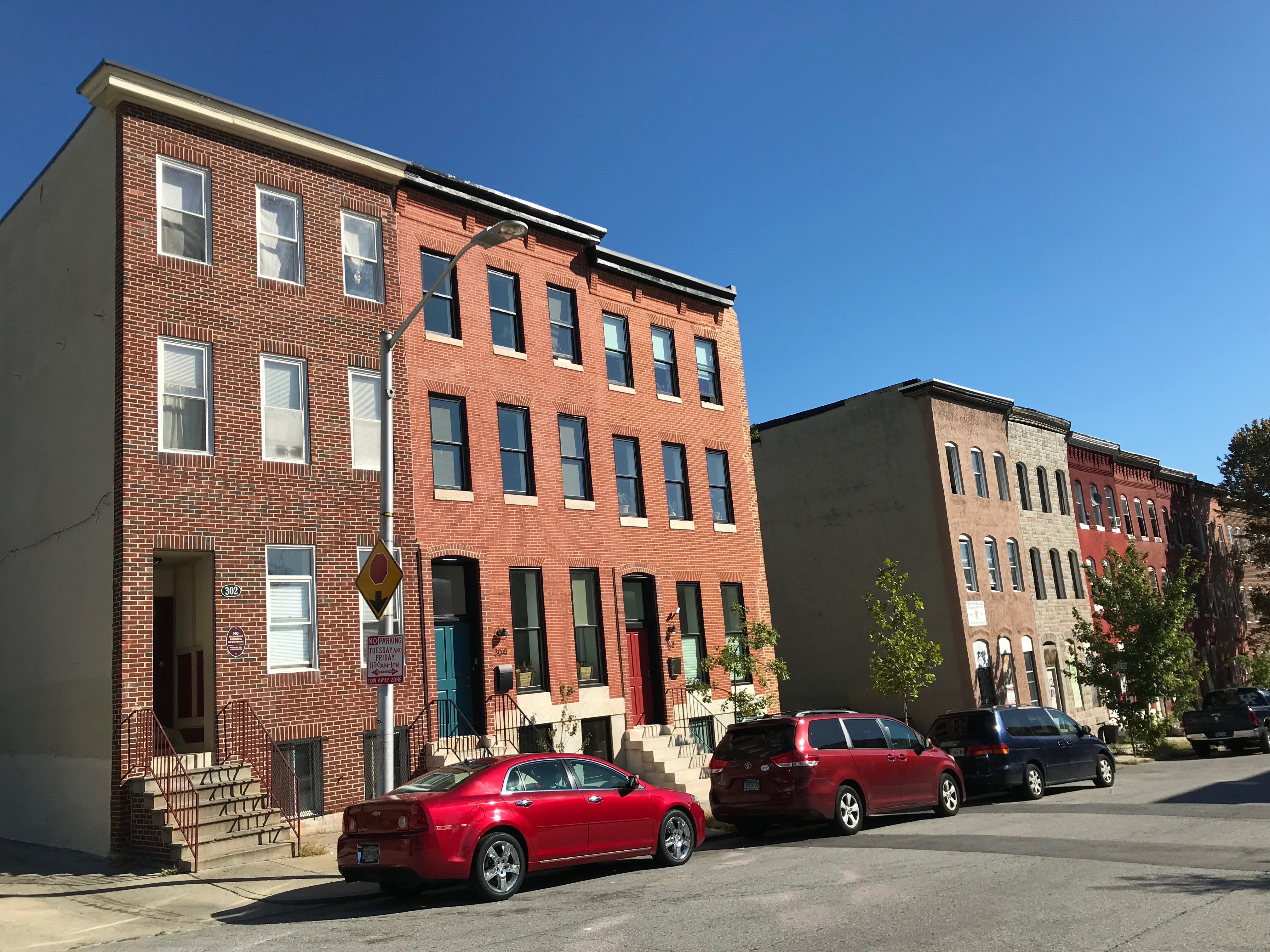 Rowhouses, 300 block of E. Lanvale Street (north side), Baltimore, MD 21202, Baltimore, Building, Car, Central Baltimore, HQ Photo