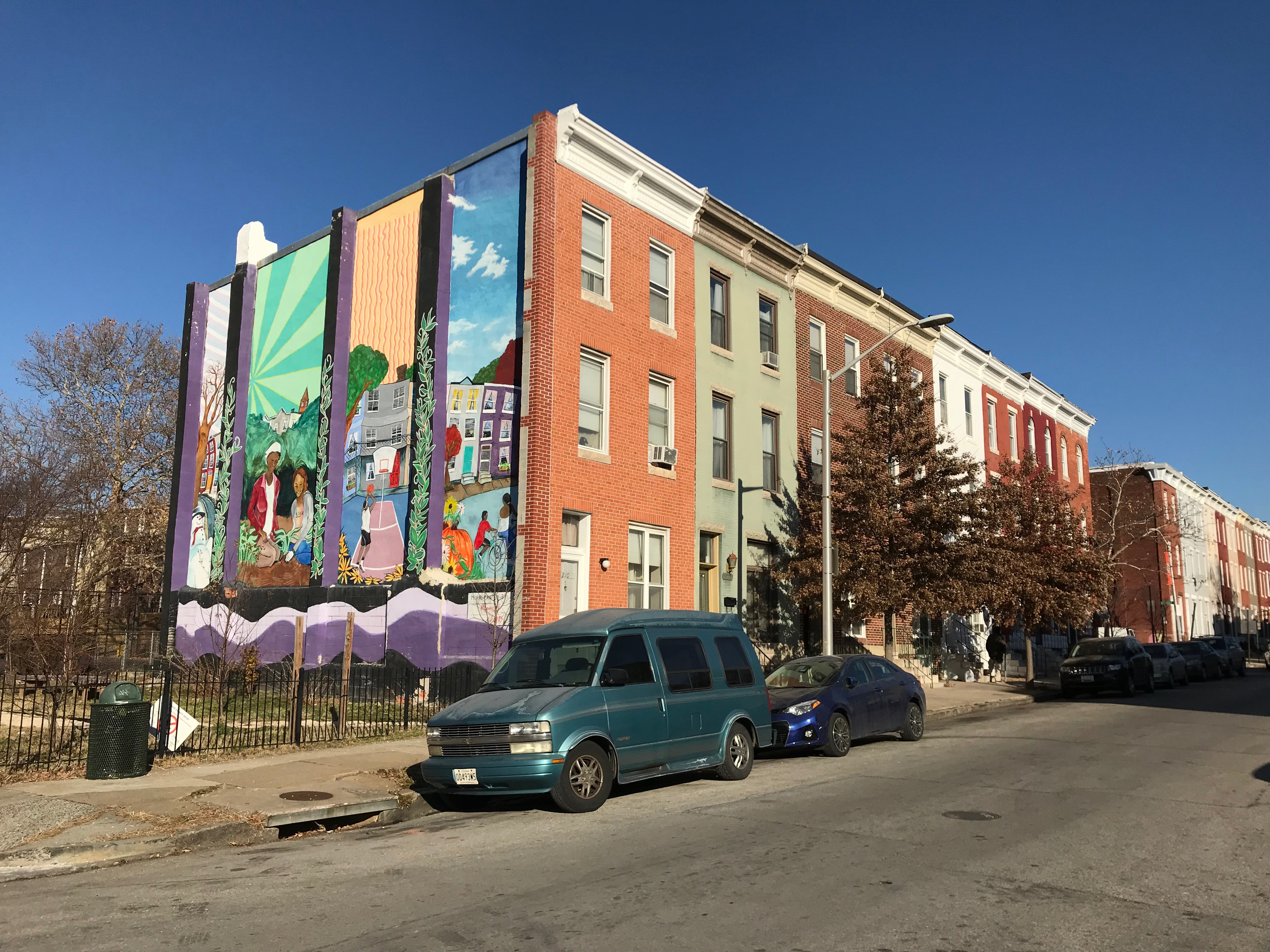 Rowhouses and mural, 200 block of e. 22nd street, baltimore, md 21218 photo