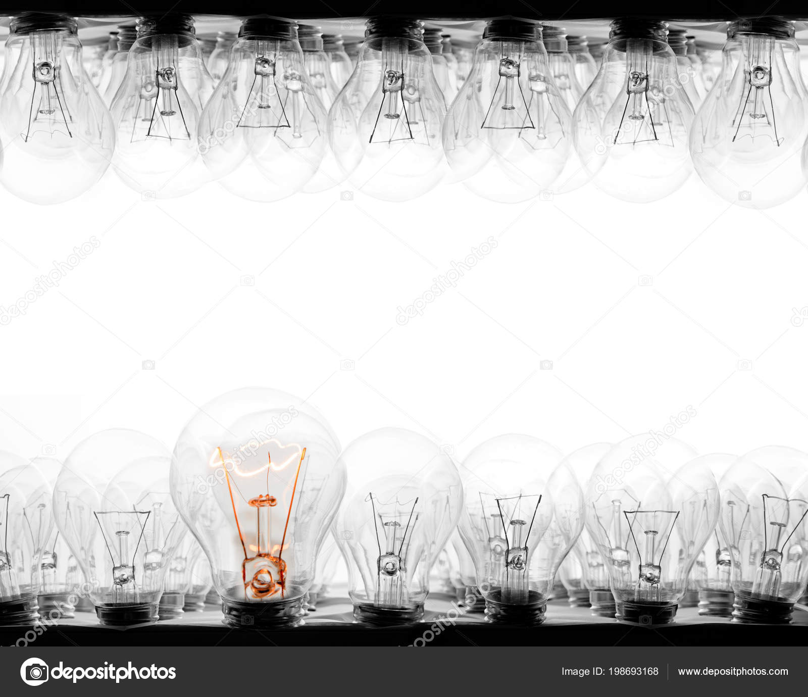 Photo Light Bulbs Rows Shining One Them White Background Concept ...