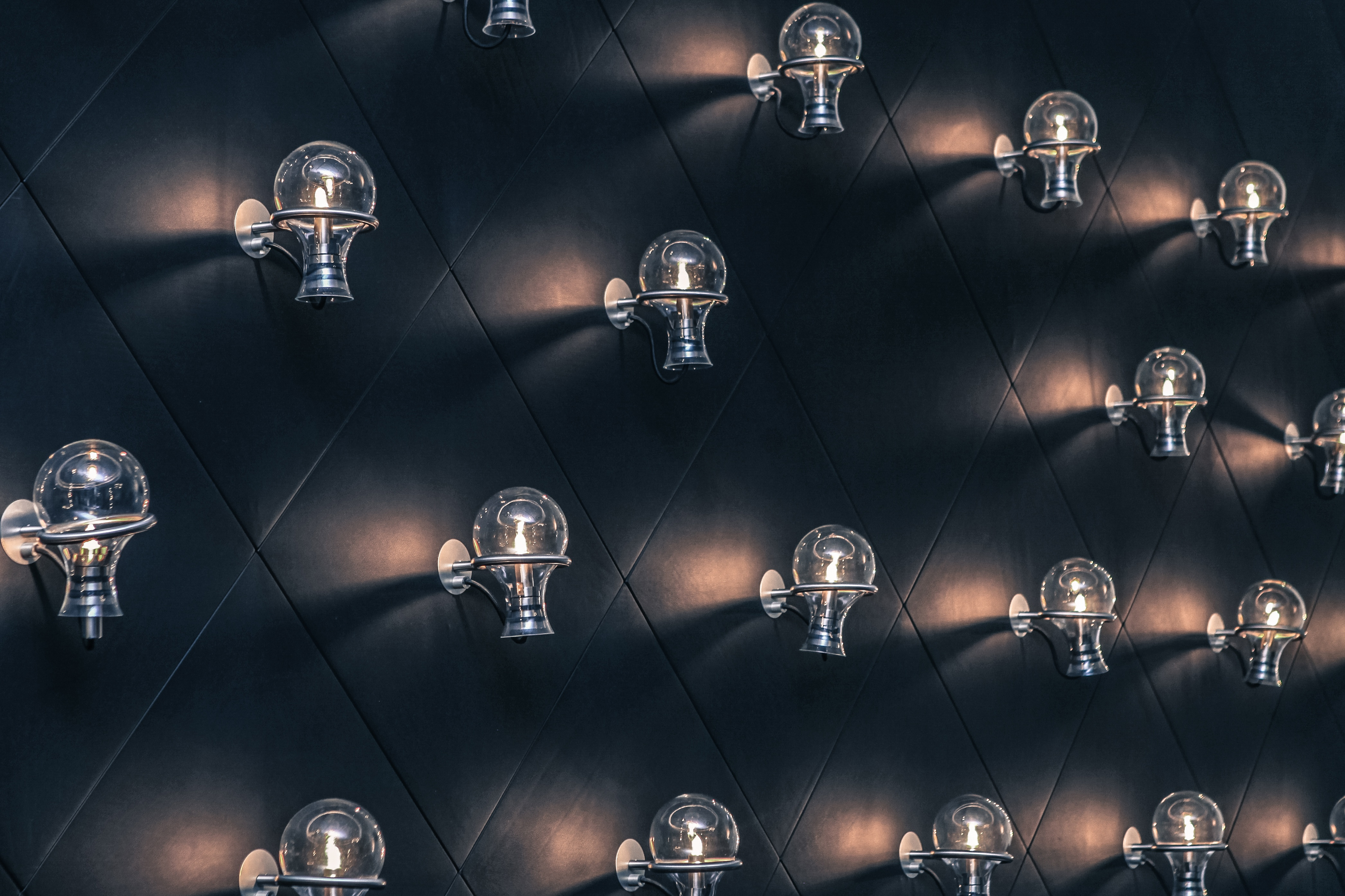 Rows of Bulbs, Bulbs, Electric, Electricity, Group, HQ Photo