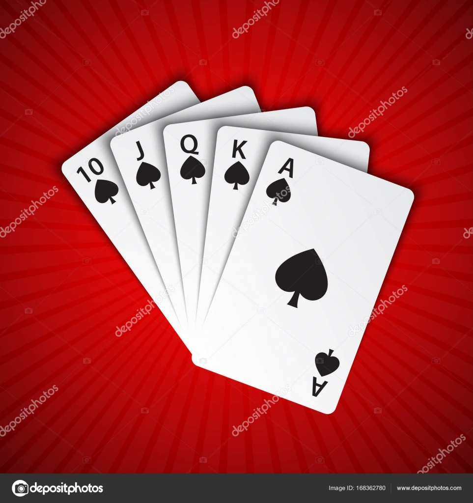 A royal flush of spades on red background, winning hands of poker ...