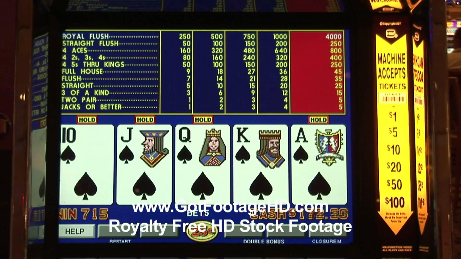 Sequentail Royal Flush on a Video Poker Machine in Las Vegas bu ...