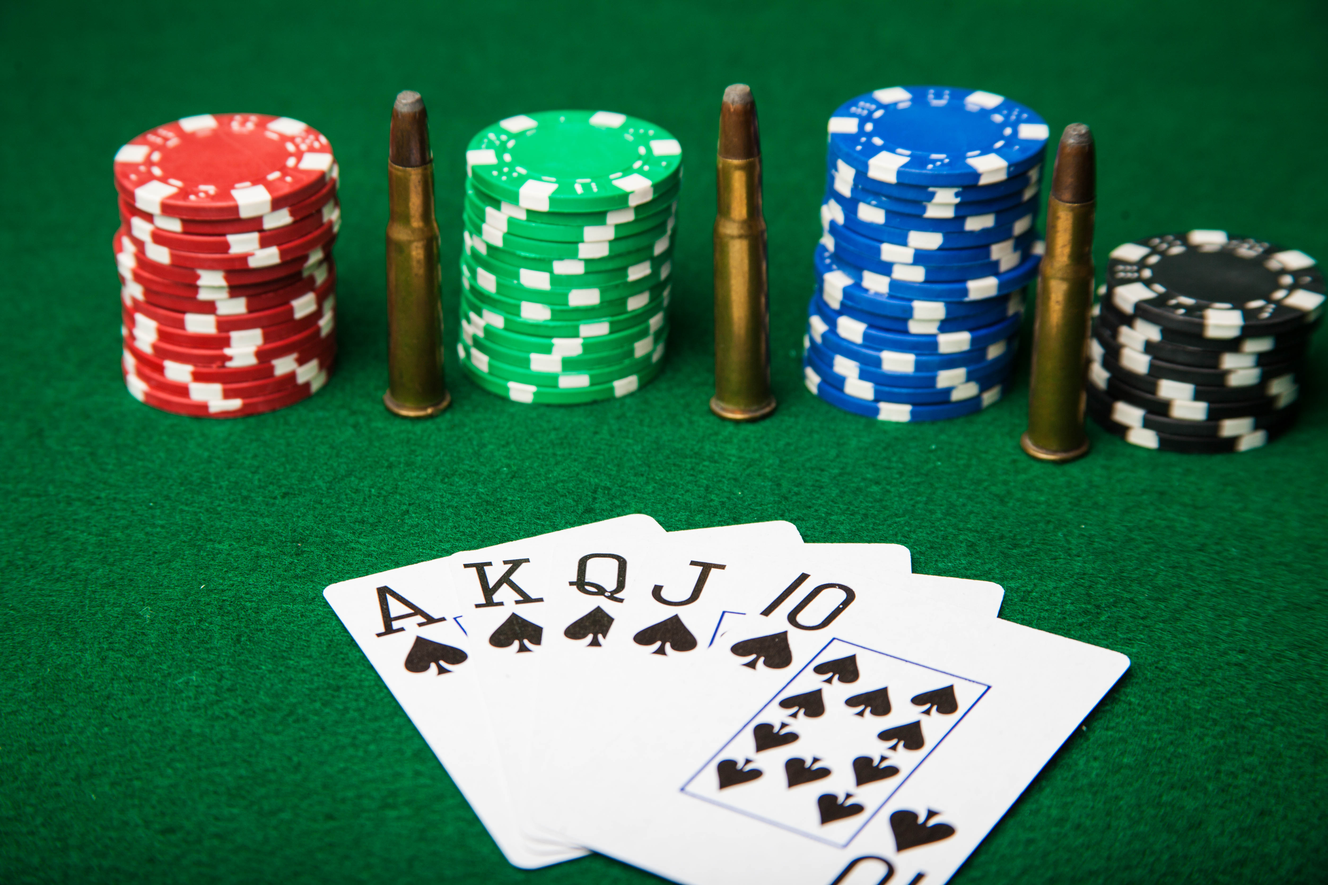 Royal Flush with bullets., Ace, Green, Threat, Table, HQ Photo