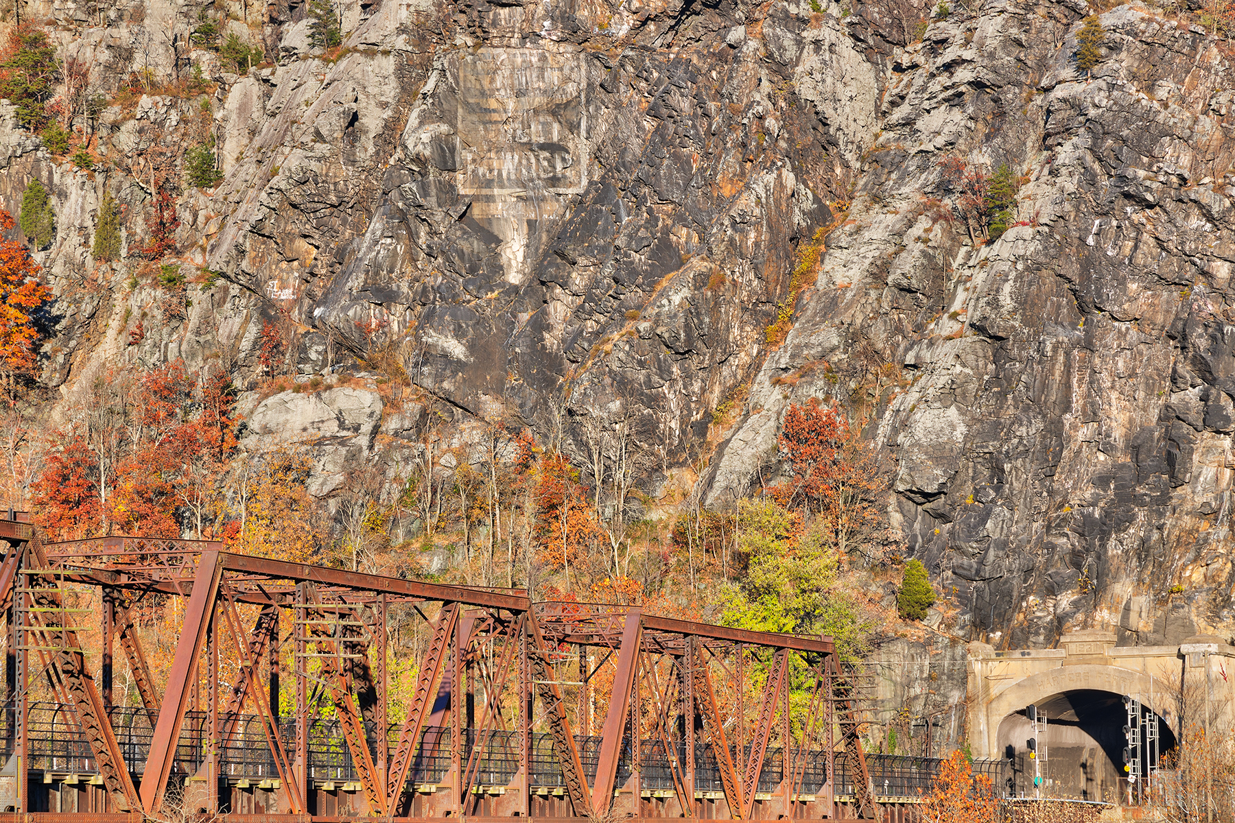 Rugged autumn railroad - hdr photo