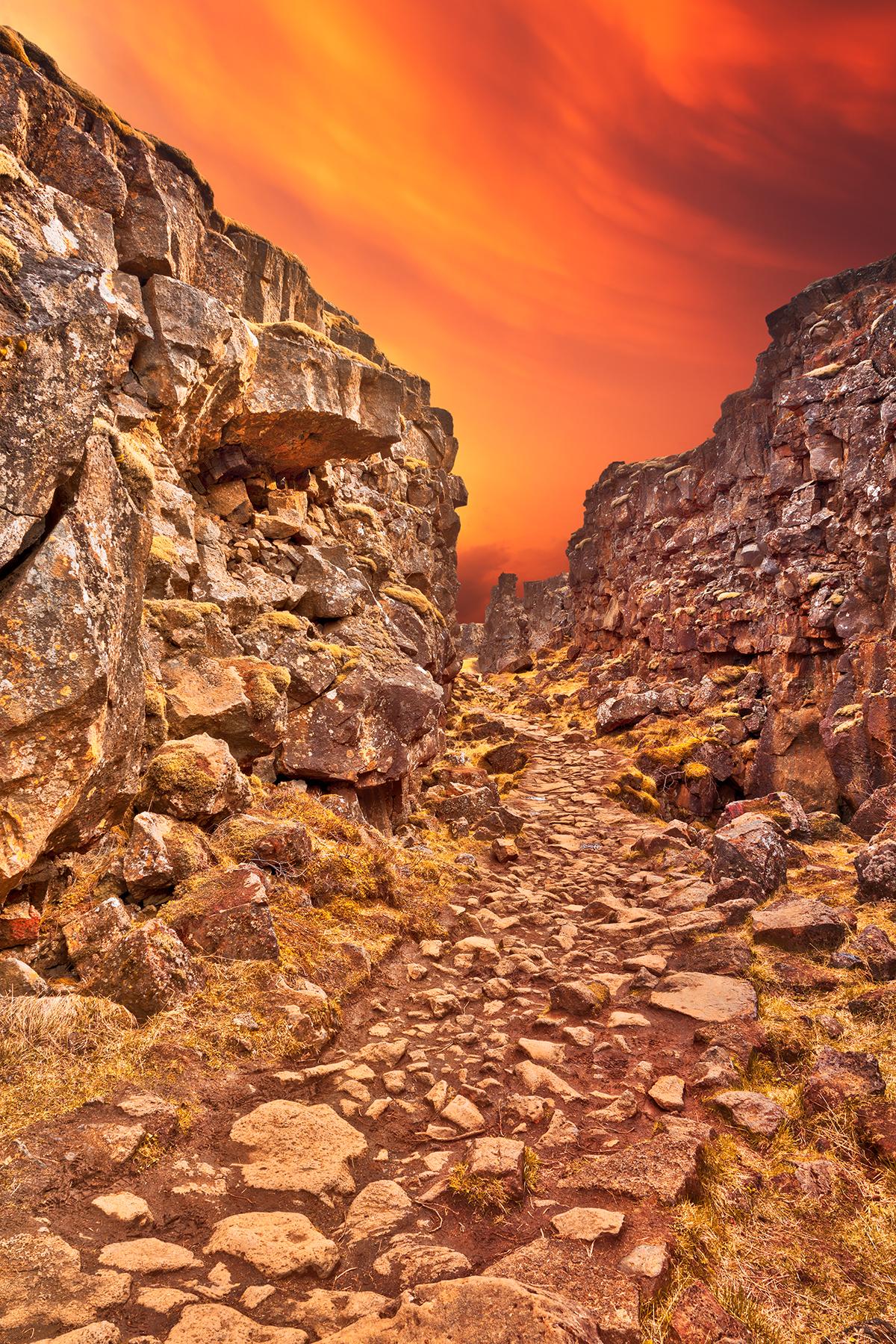 Rugged Sunset Rift Trail - Thingvellir, Atmosphere, Outdoors, Rocky, Rocks, HQ Photo