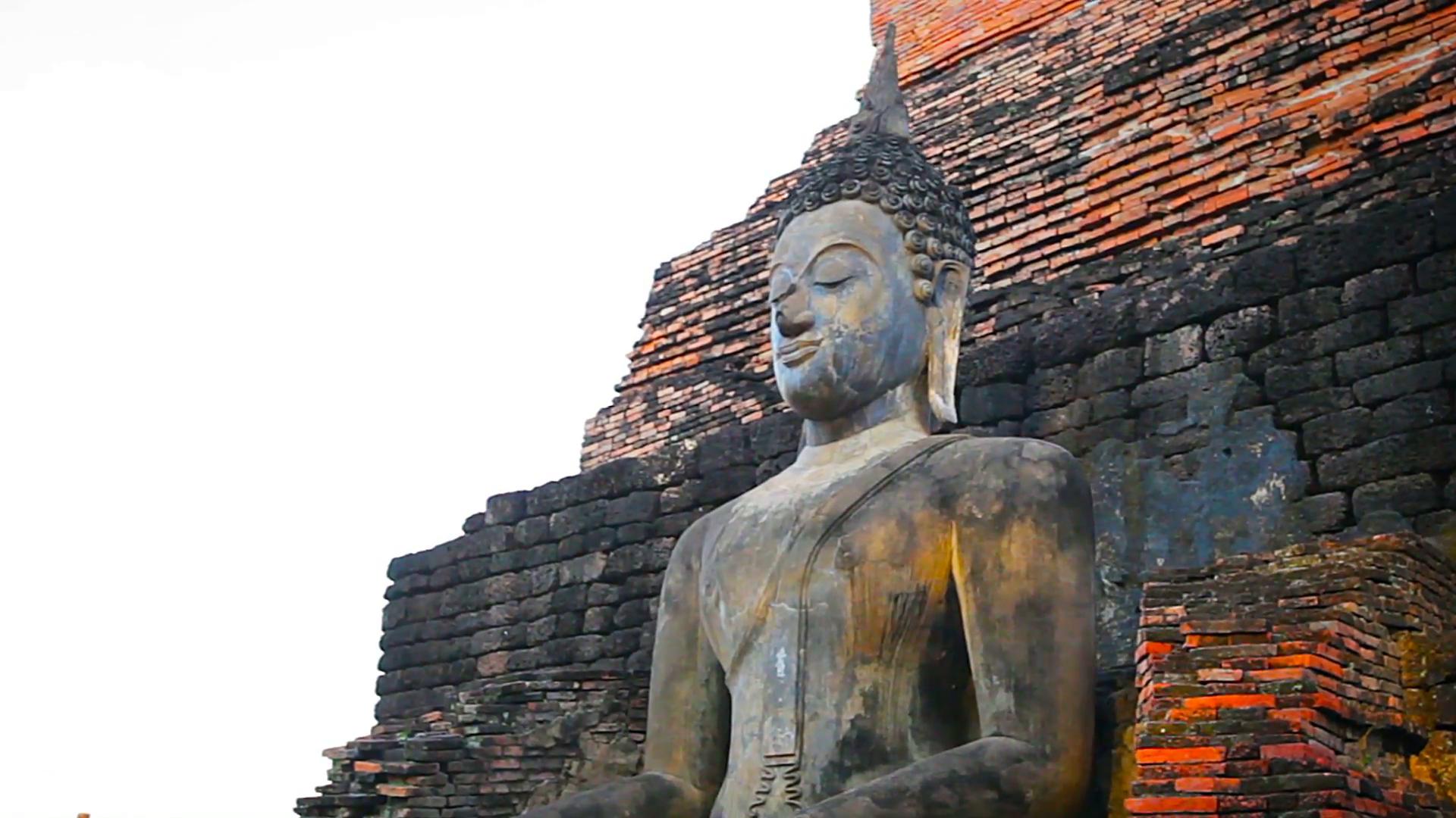 Buddha Statue at Temple Ruin in Sukhothai. Thailand Stock Video ...