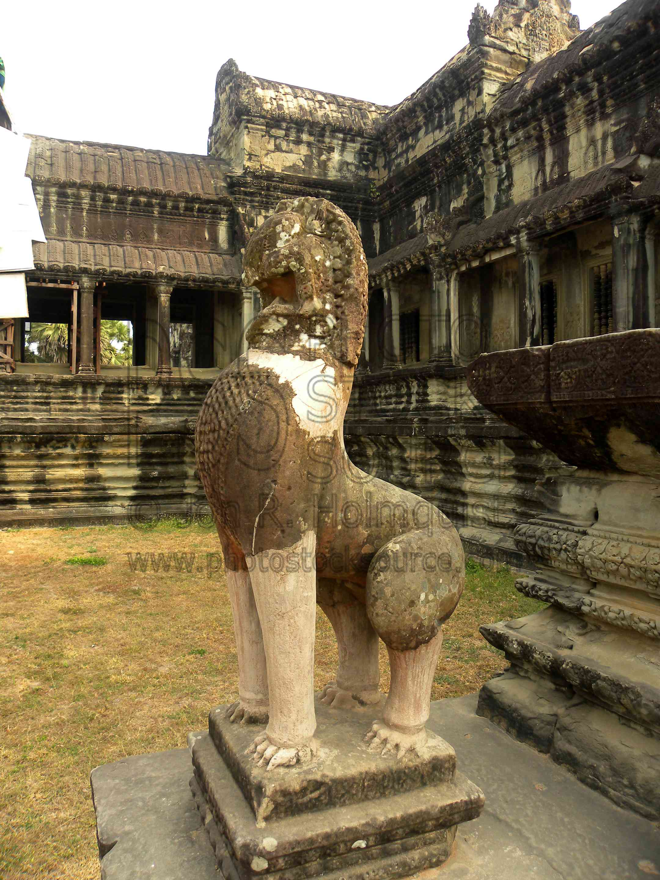 Photo of Guardian Lion Statue by Photo Stock Source temple, Angkor ...
