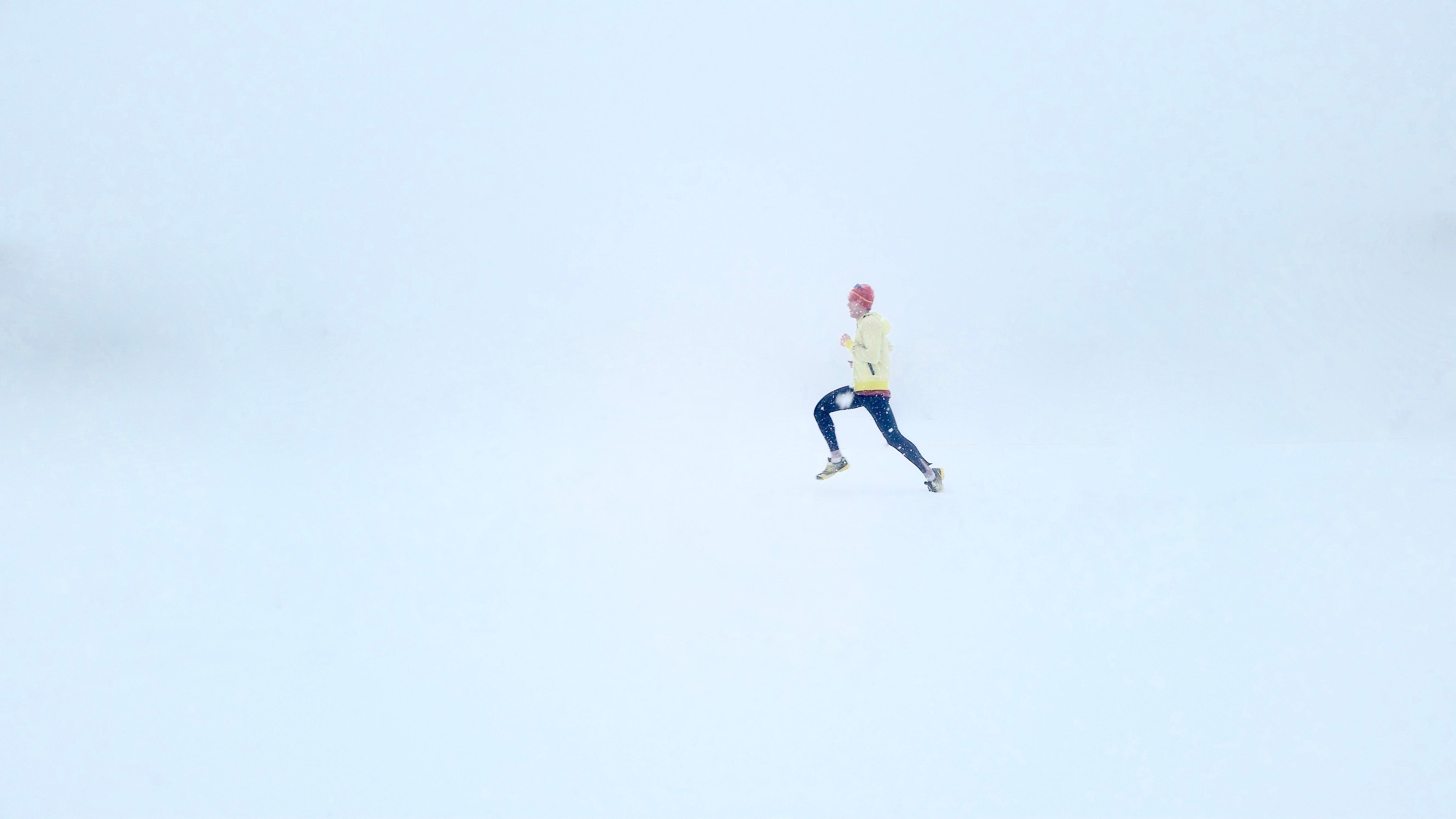 Runner, Running, Snow, White, Run, HQ Photo