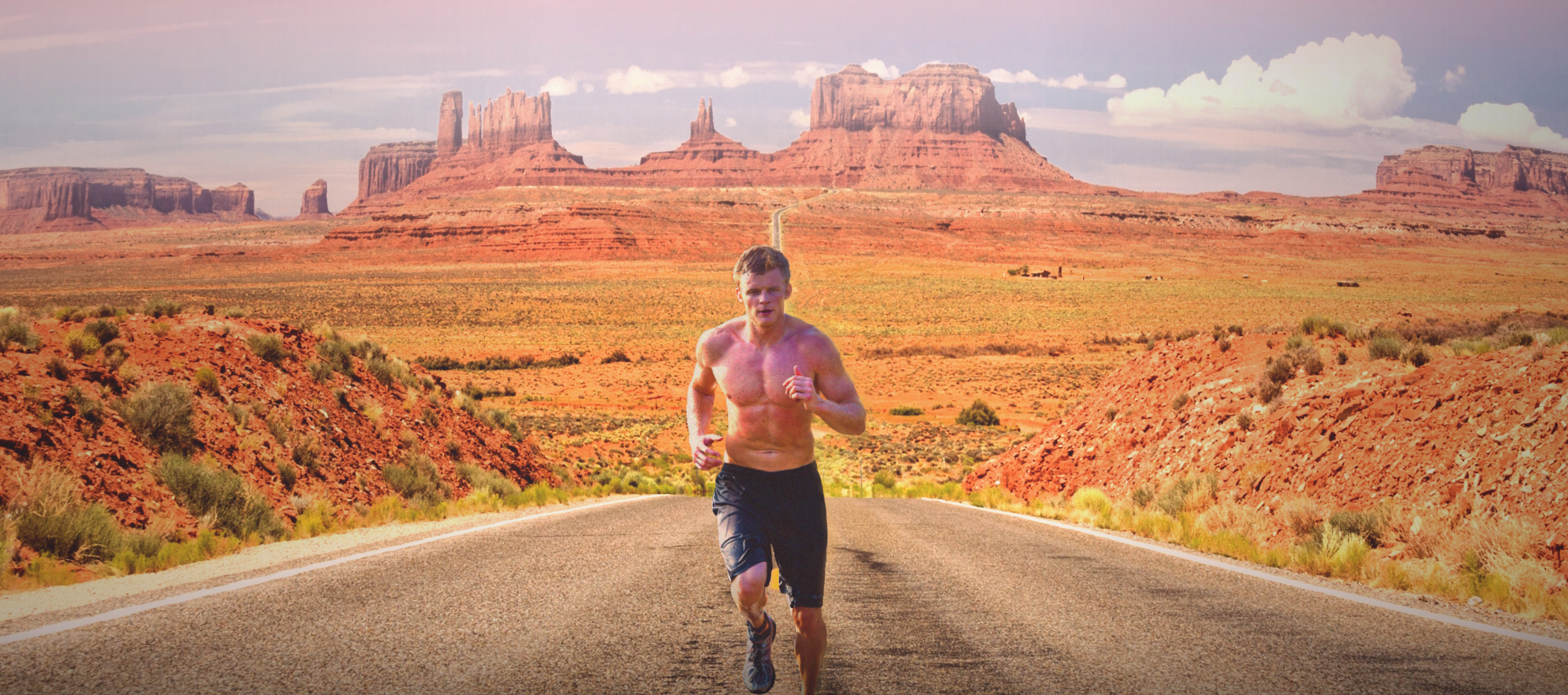 Runner on monument valley photo