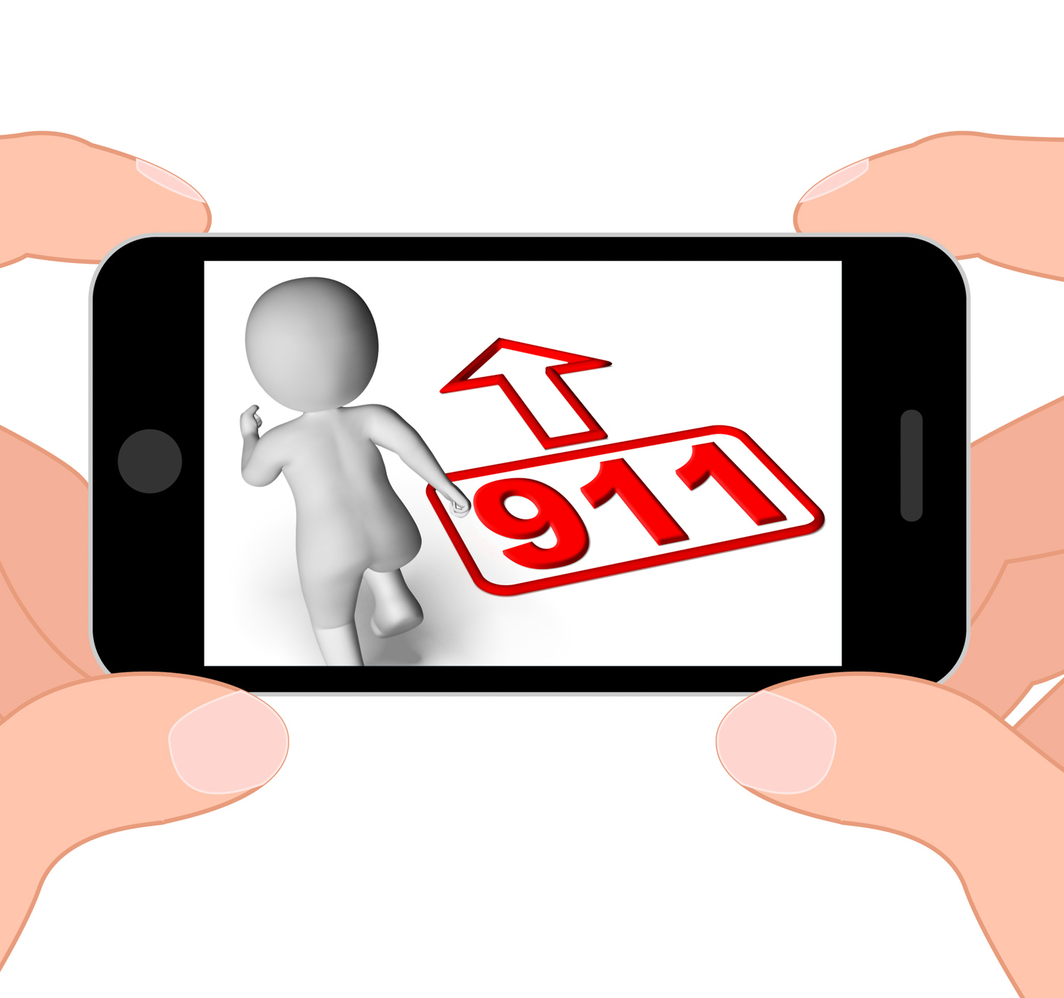 Running character and 911 nine one displays emergency help rescue photo