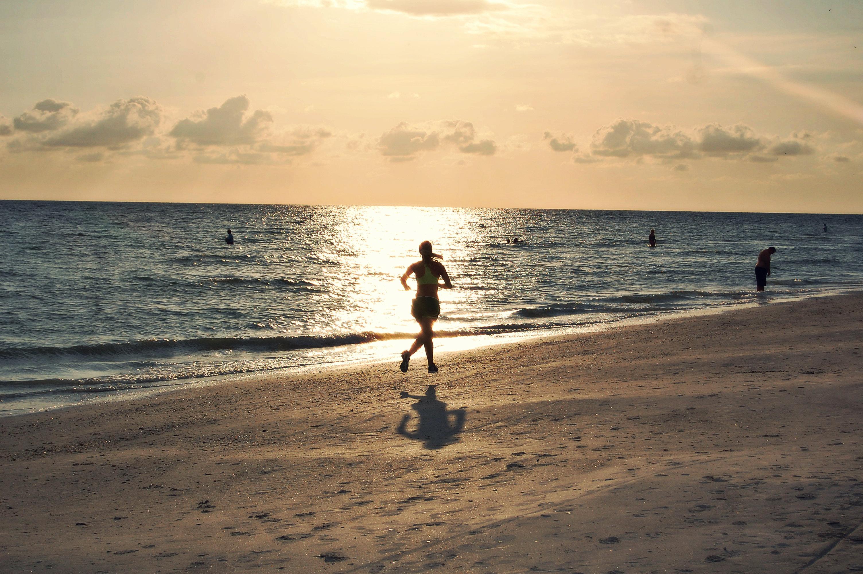 Running on beach photo