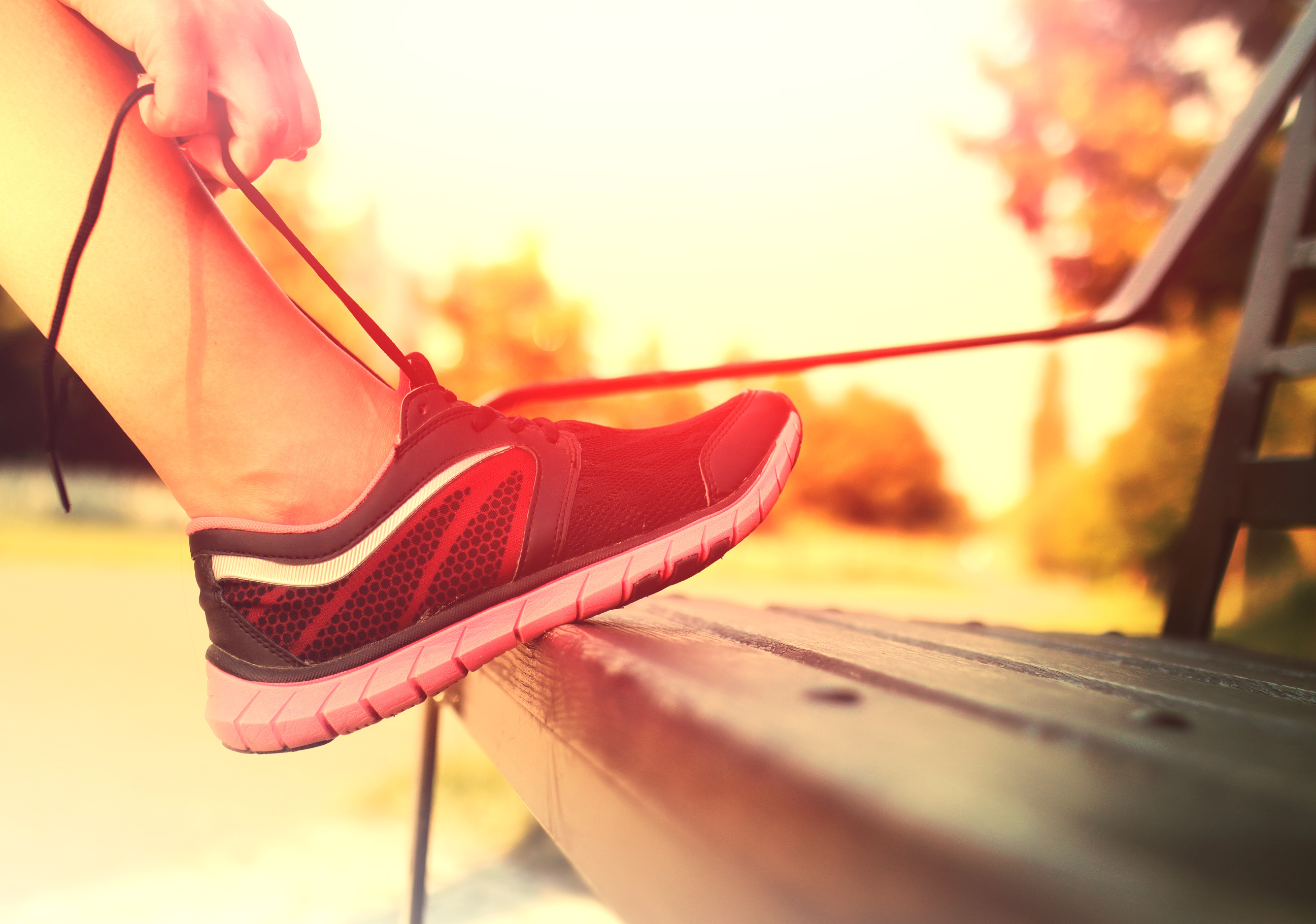 Running Shoes - Woman Tying Shoe Laces, Runner, Space, Sneakers, Slim, HQ Photo