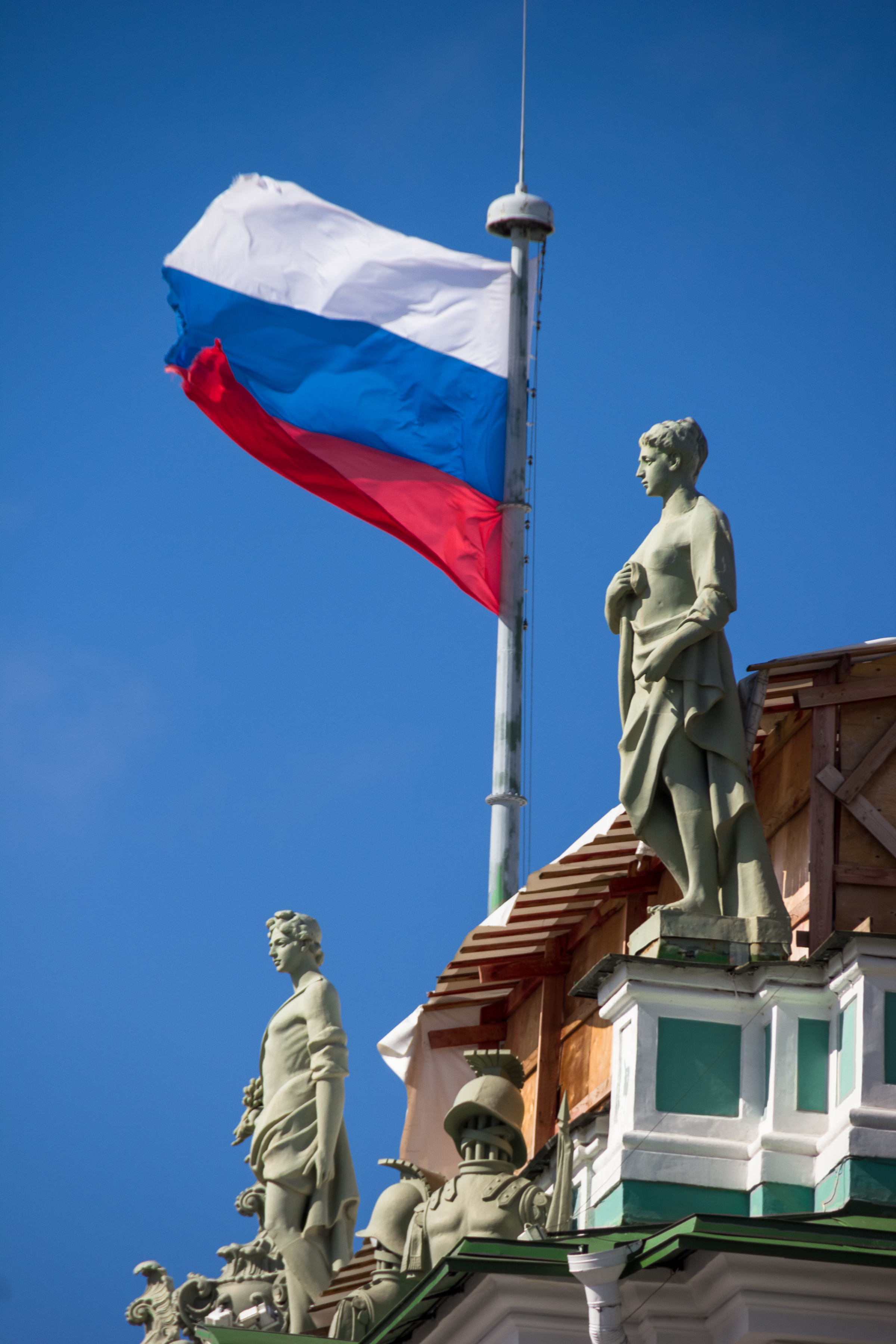 Russian flag on hermitage photo