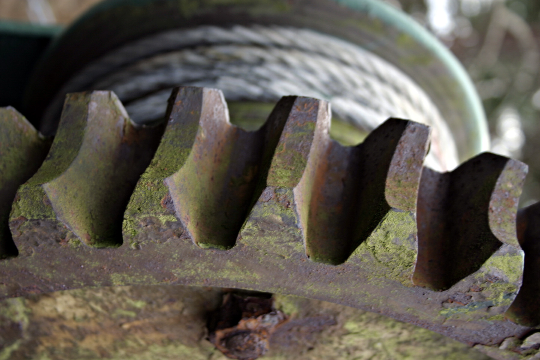 Rusted gear and wires photo