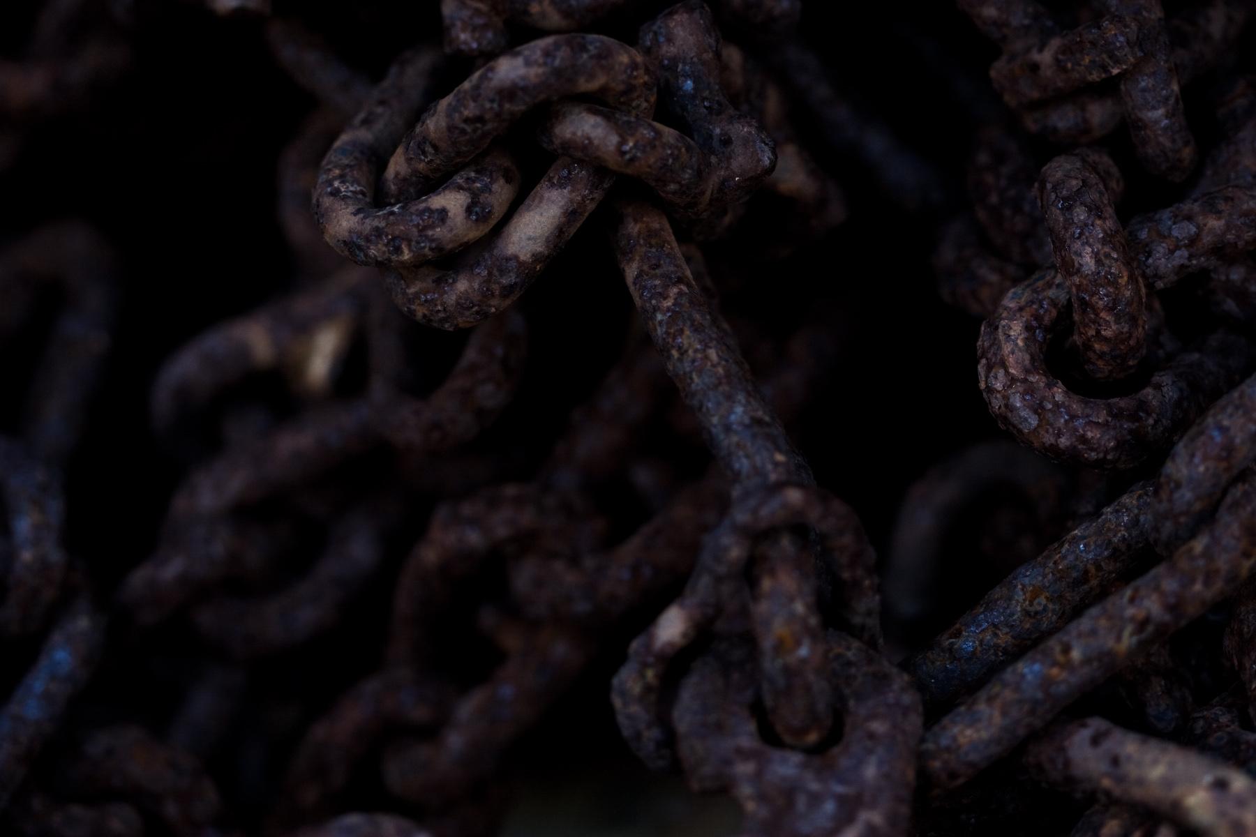 Rusted steel chain photo