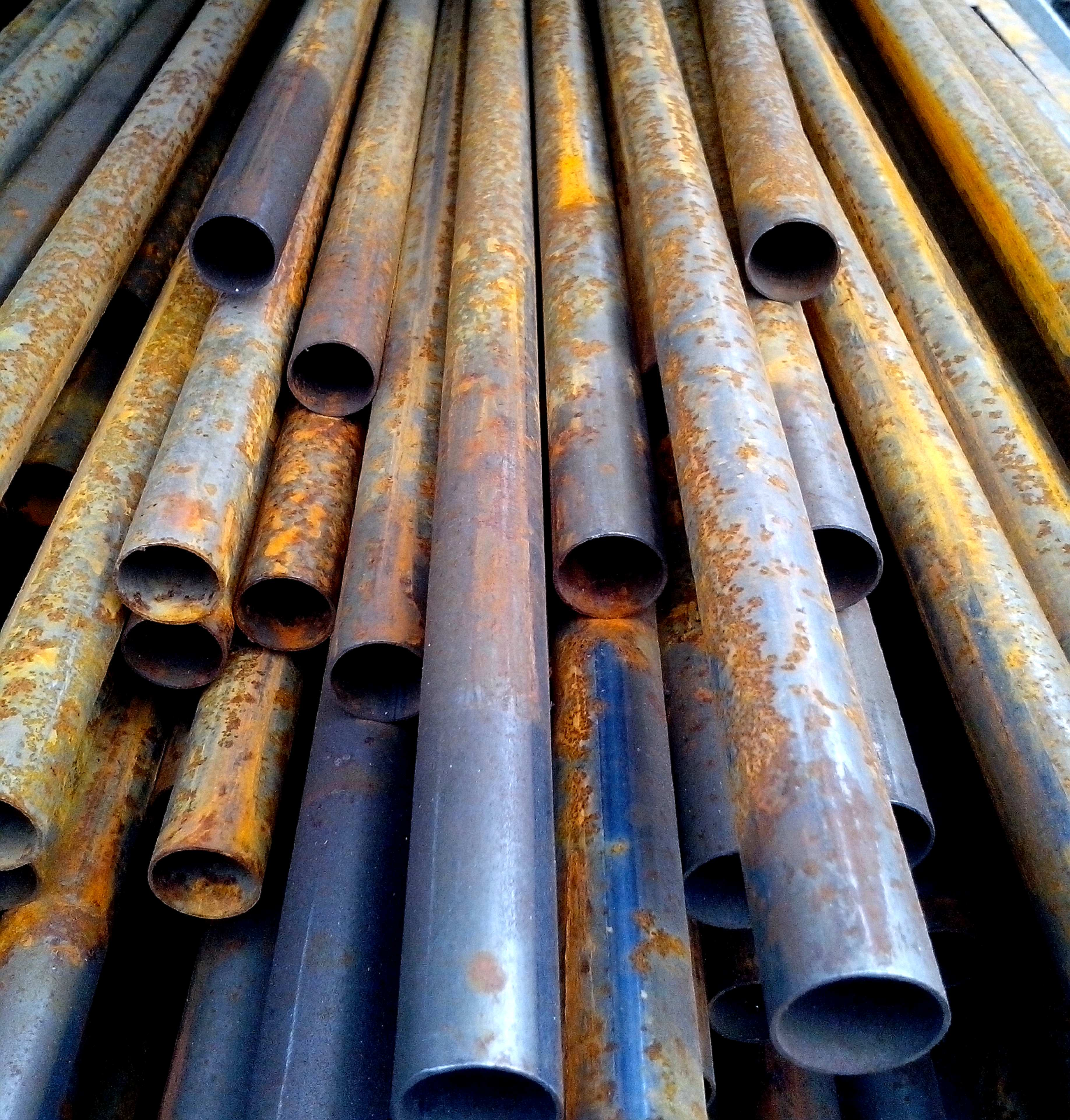 Free picture: rusty, round, metal, pipes, stacked
