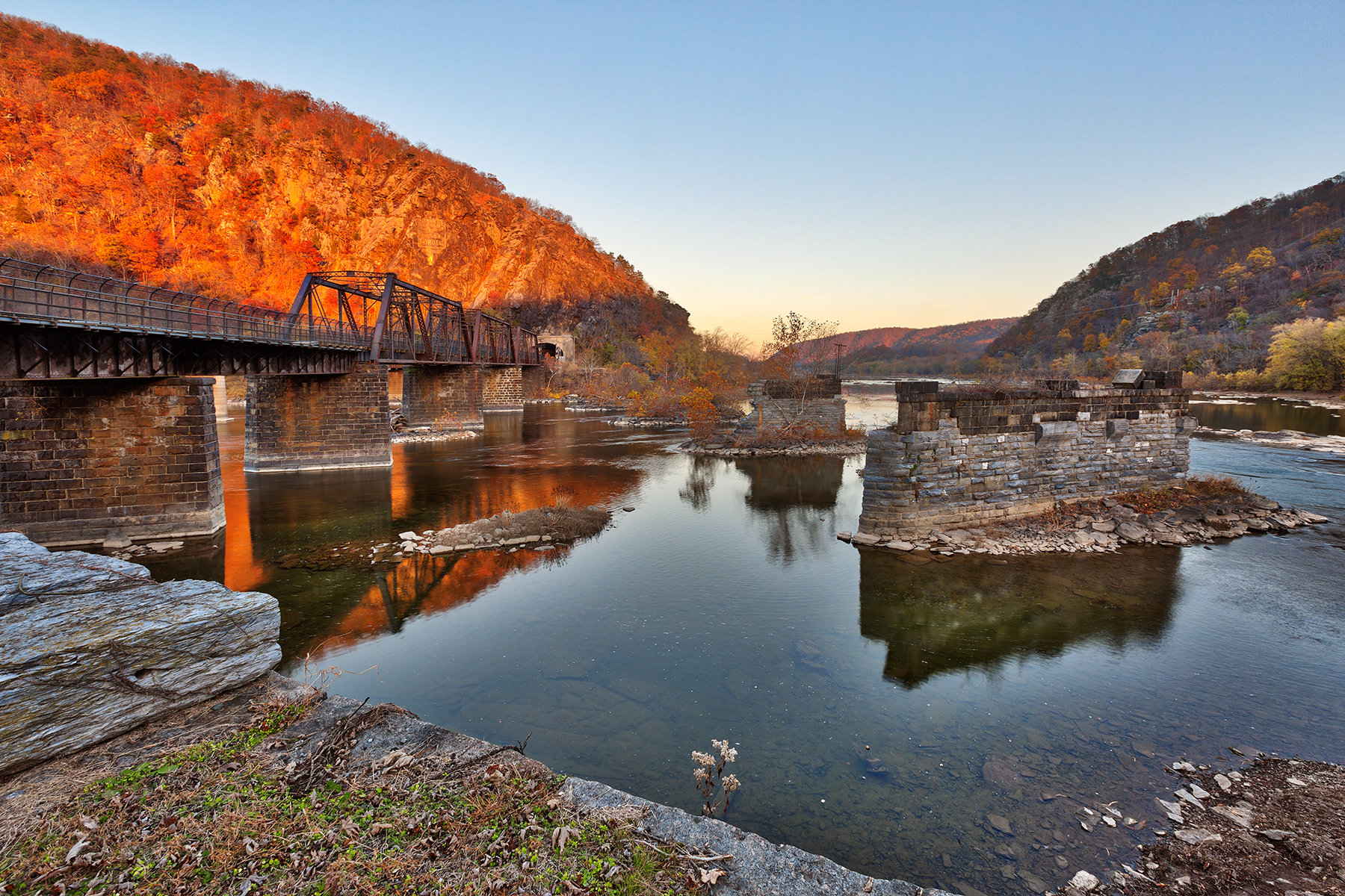 Rustic autumn river sunset - hdr photo