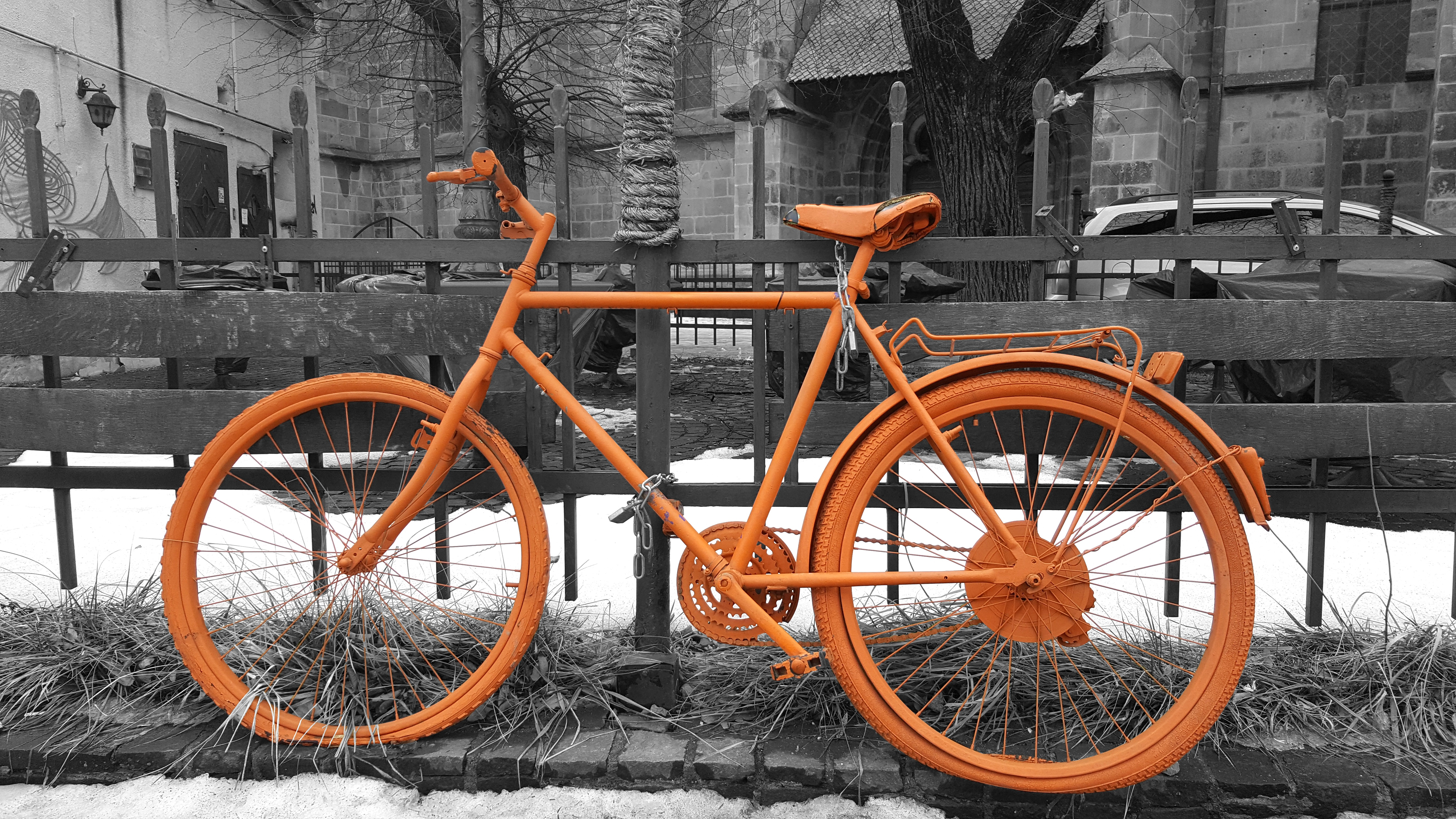 Free Images : snow, winter, black and white, wheel, retro, bicycle ...