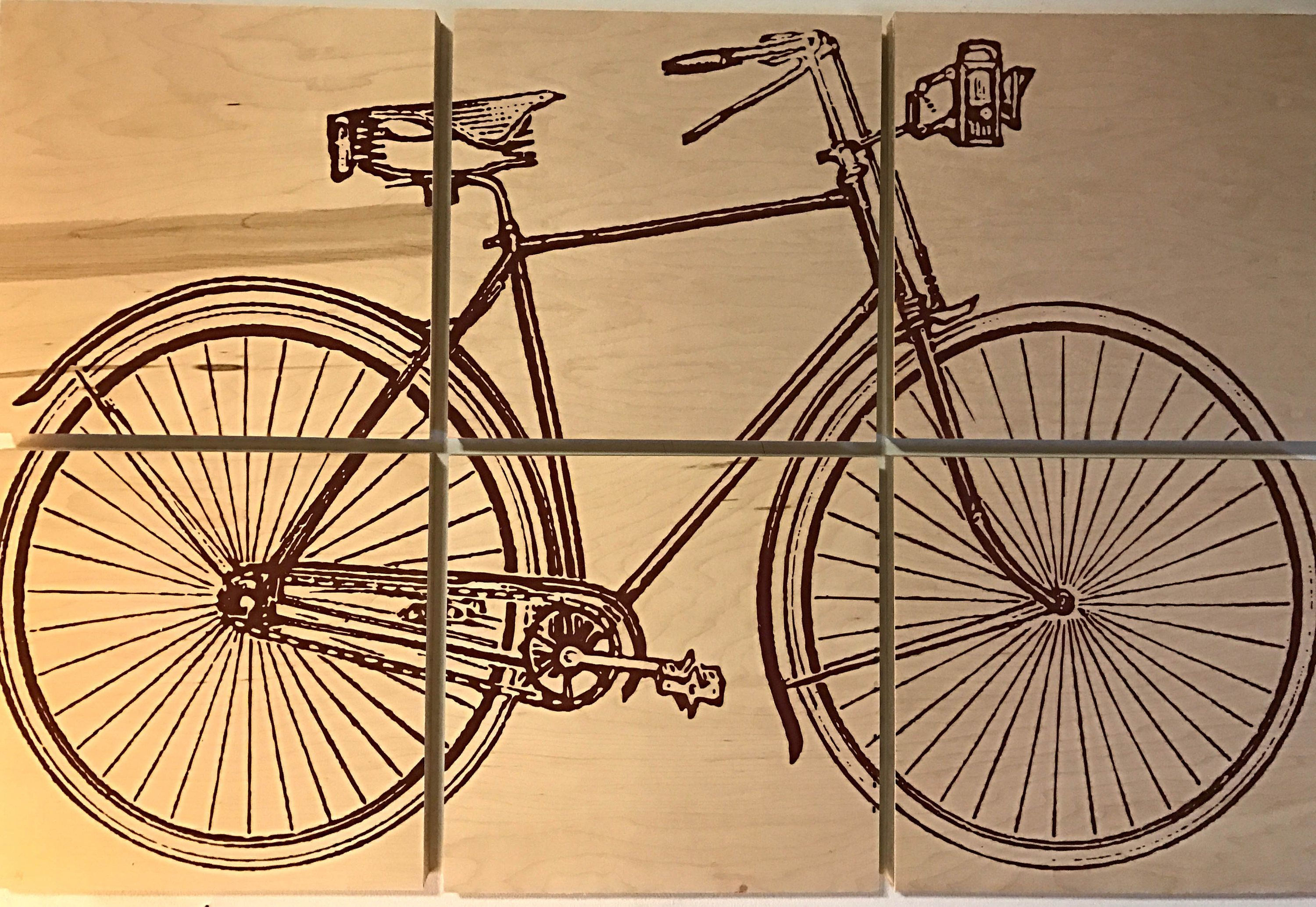 24x36 vintage bicycle screen printed with red wood stain | Red wood ...