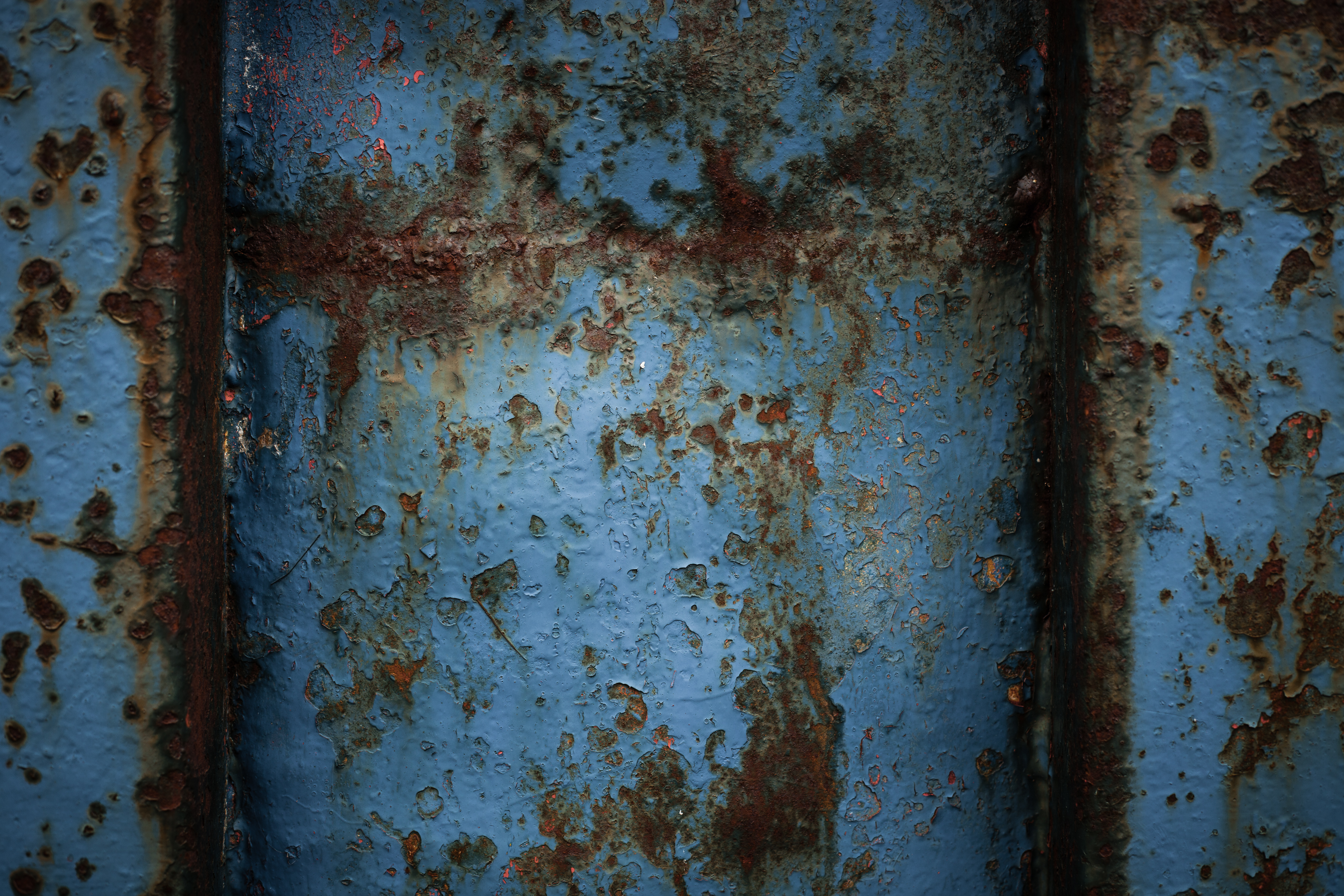 Rusty blue metal texture photo