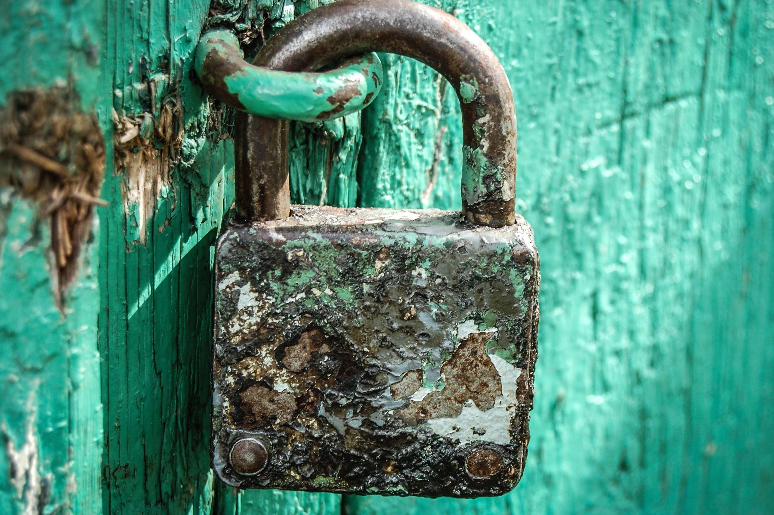 Free picture: padlock, lock, device, rusty, metal, doors, wood
