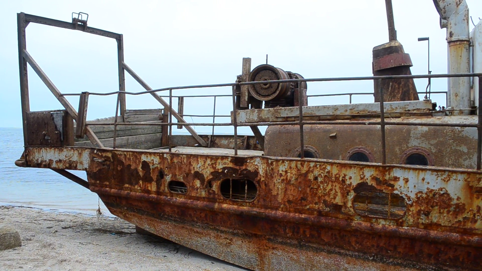 Rusty fishing ship ashore. Stock Video Footage - VideoBlocks