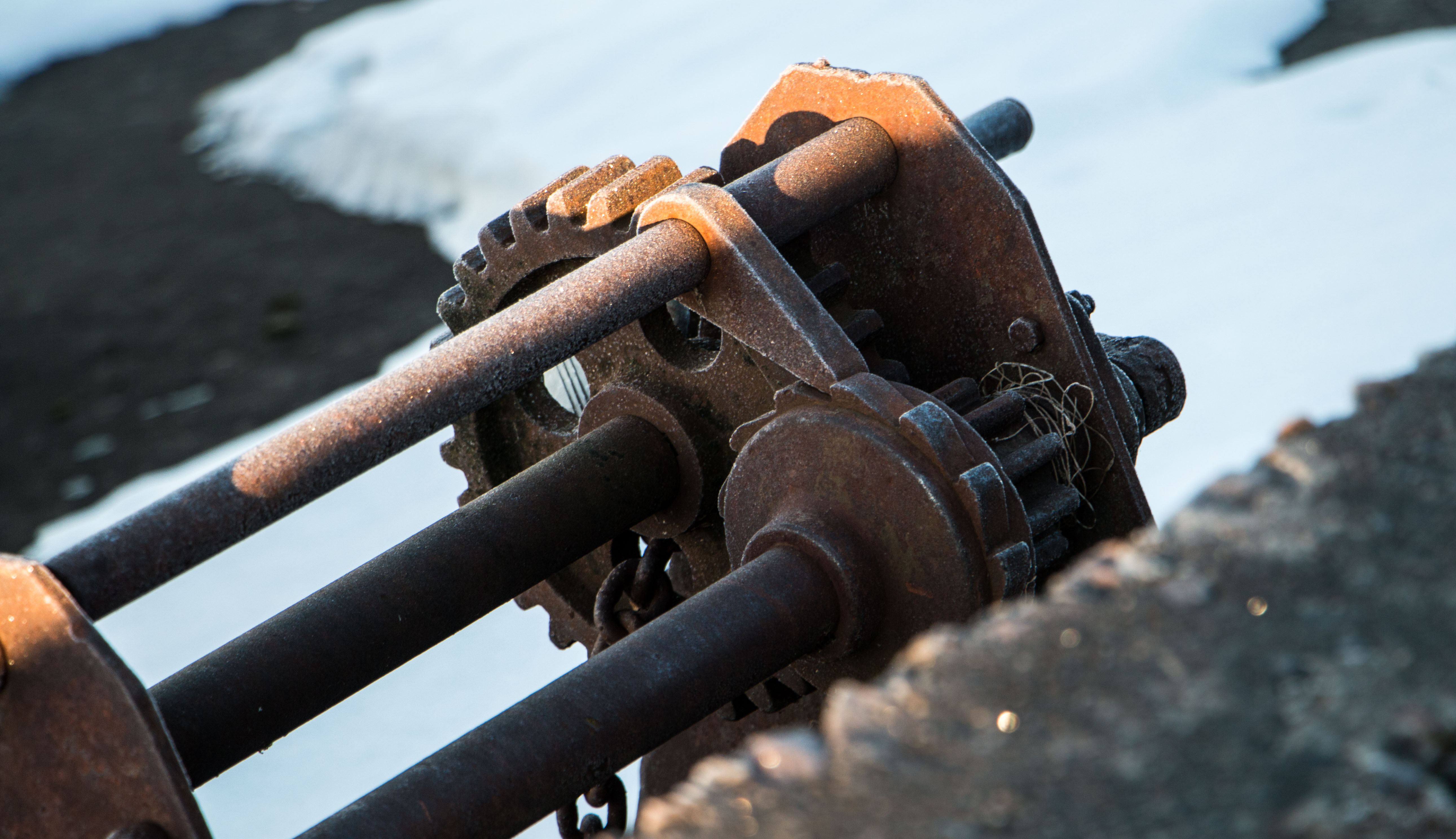 Rusty Winch, Outside, Old, Rusty, Sunny, HQ Photo