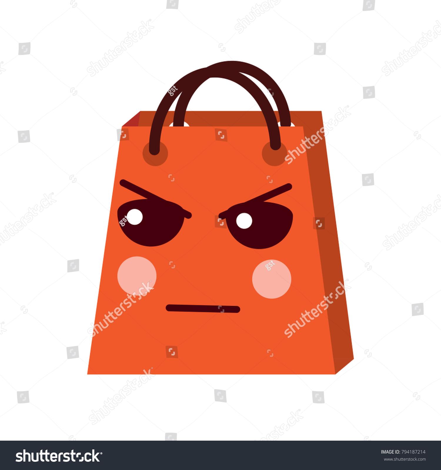 Kawaii Shopping Bag Cartoon Sad Expression Stock Vector HD (Royalty ...