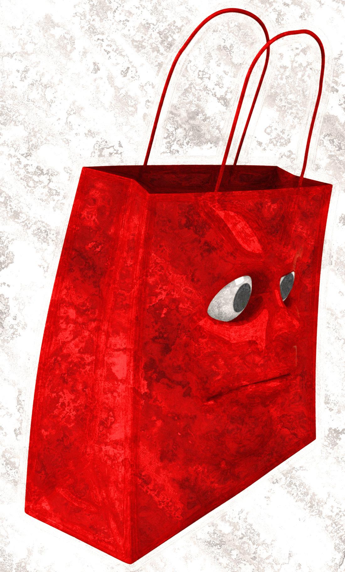 Sad shopping bag, 3d, Present, Holidays, Isolated, HQ Photo