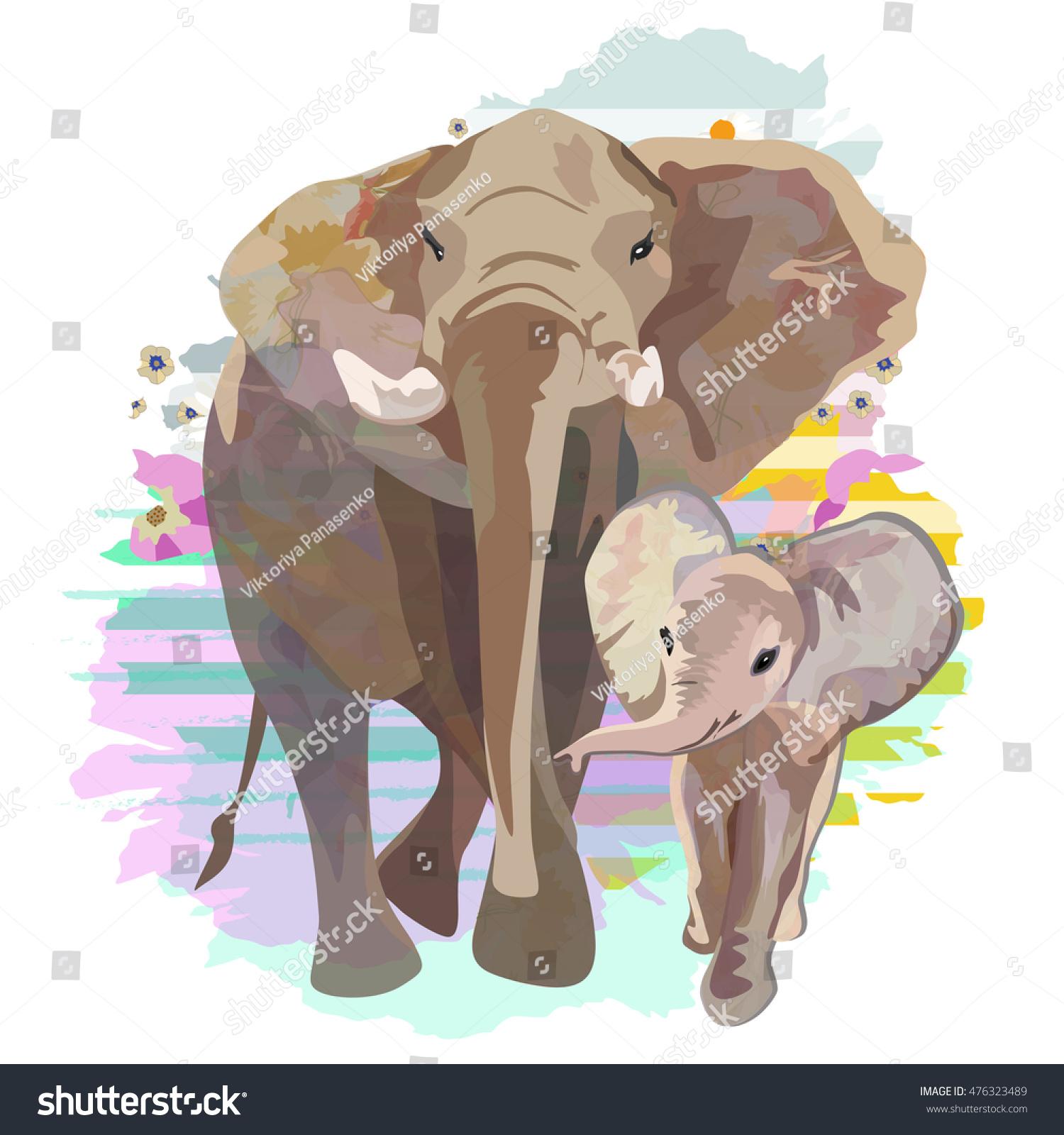 Abstract Draw Elephant Family Mom Baby Stock Vector HD (Royalty Free ...