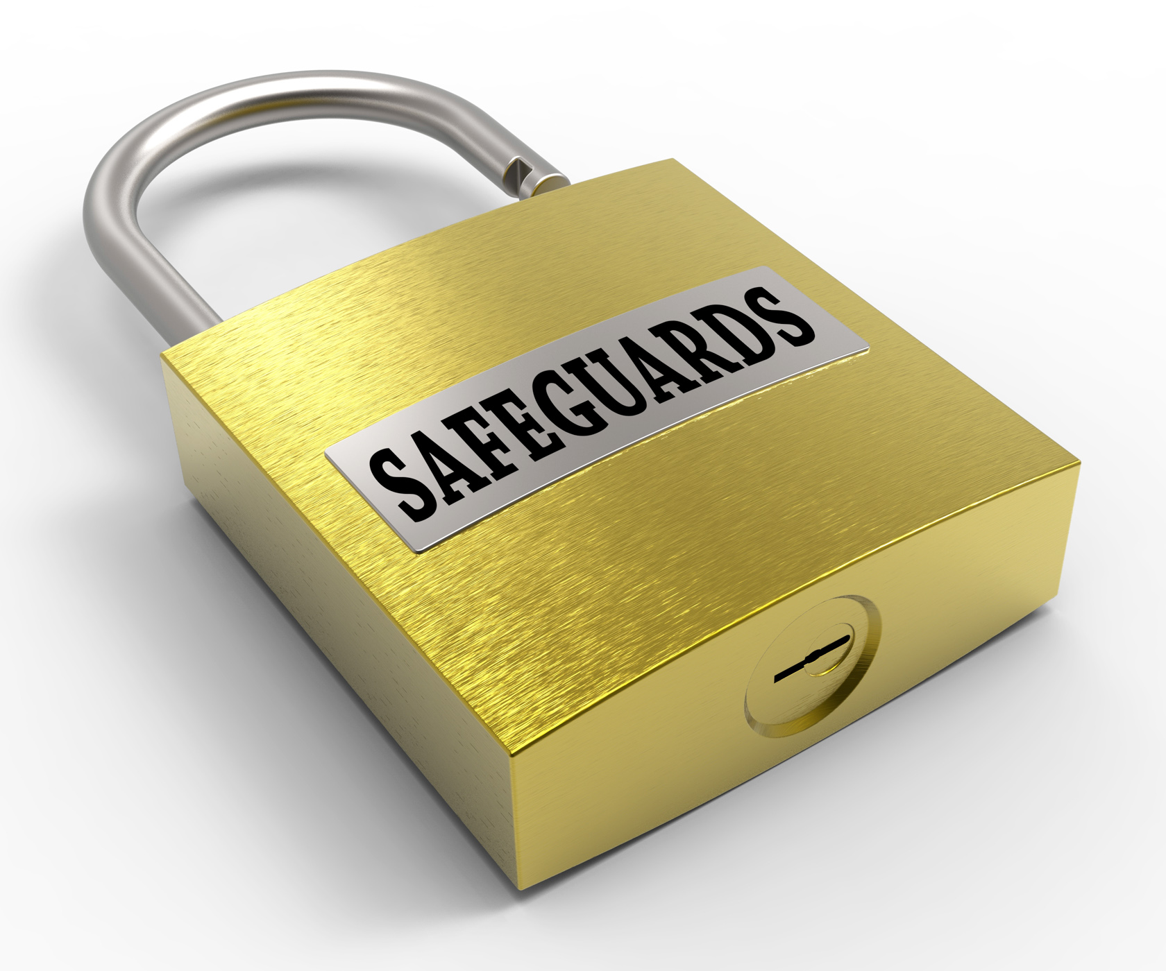 Safeguards padlock indicates protect unlock and protection 3d renderin photo
