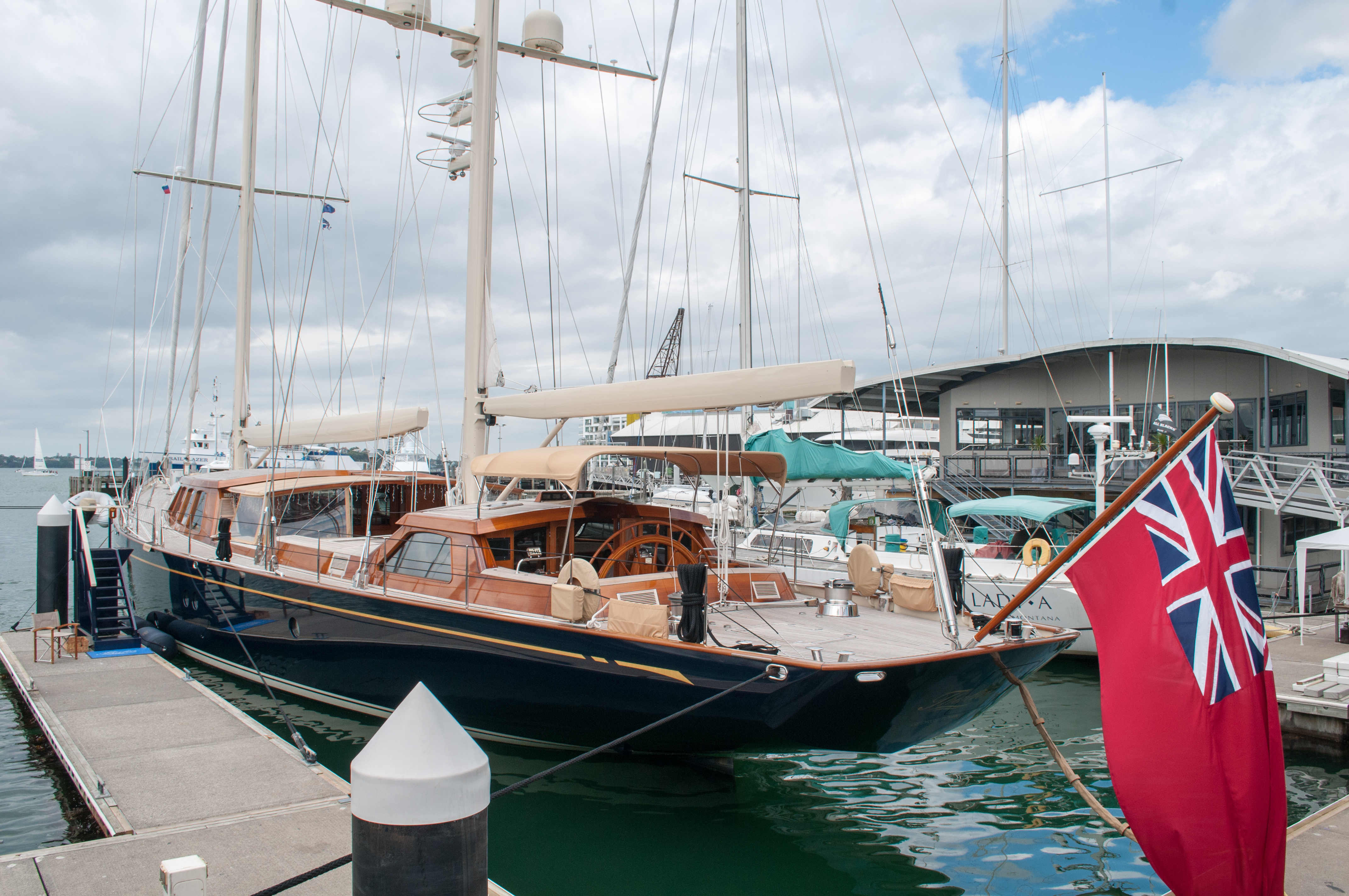 Sailboat flying Red Ensign docked at Auckland Harbour, Auckland, Boat, New zealand, Vehicle, HQ Photo