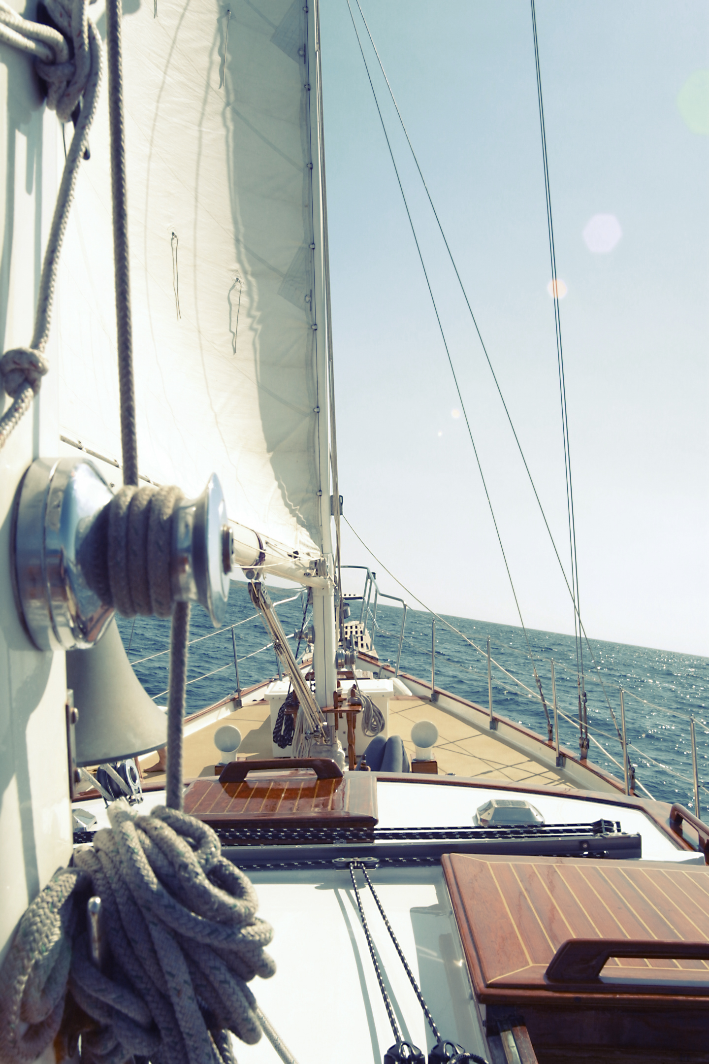 Sailboat, Blue, Boat, Rope, Sail, HQ Photo