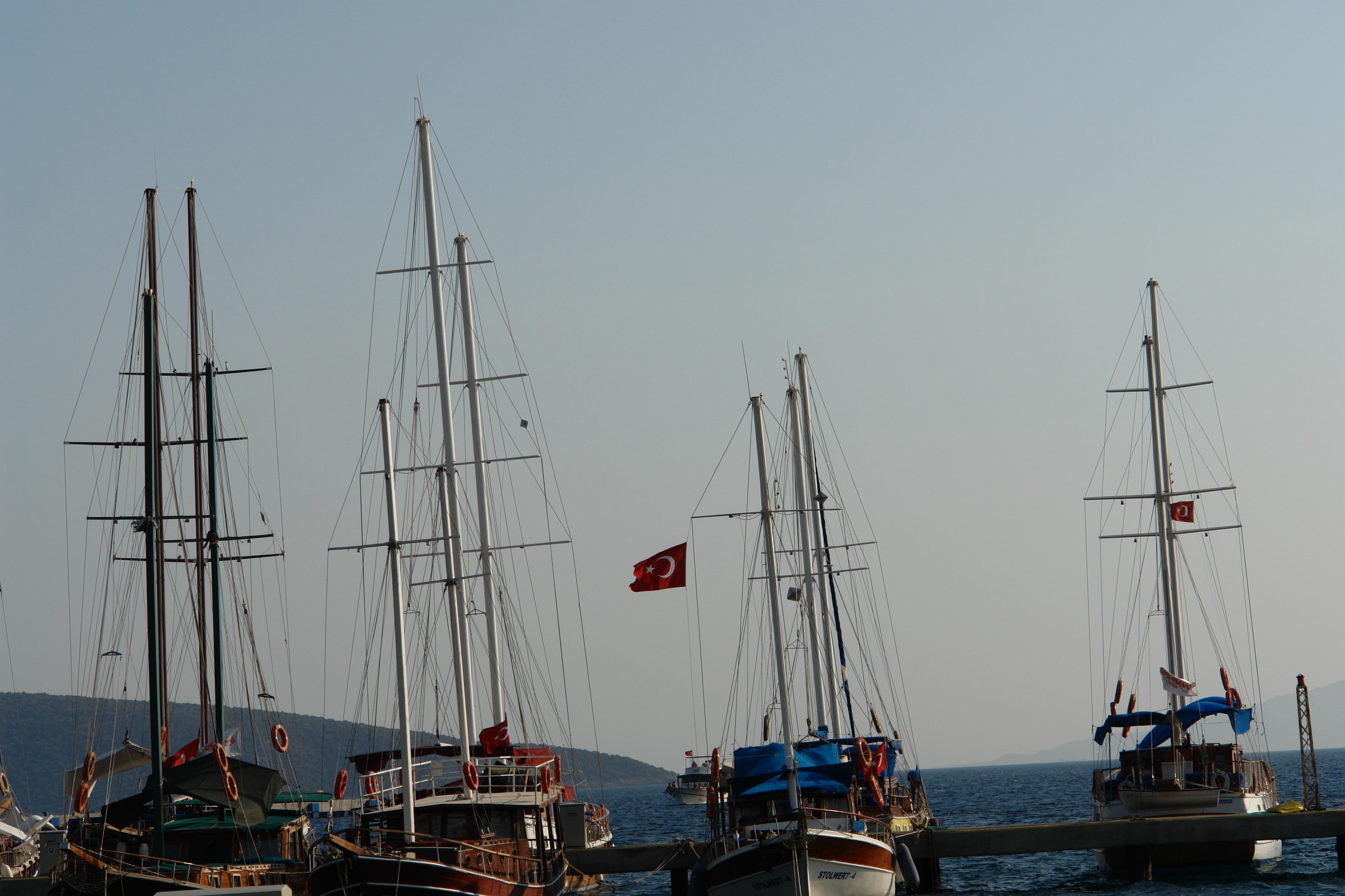 Sailboats at the harbor, Boats, Flags, Harbor, Mast, HQ Photo