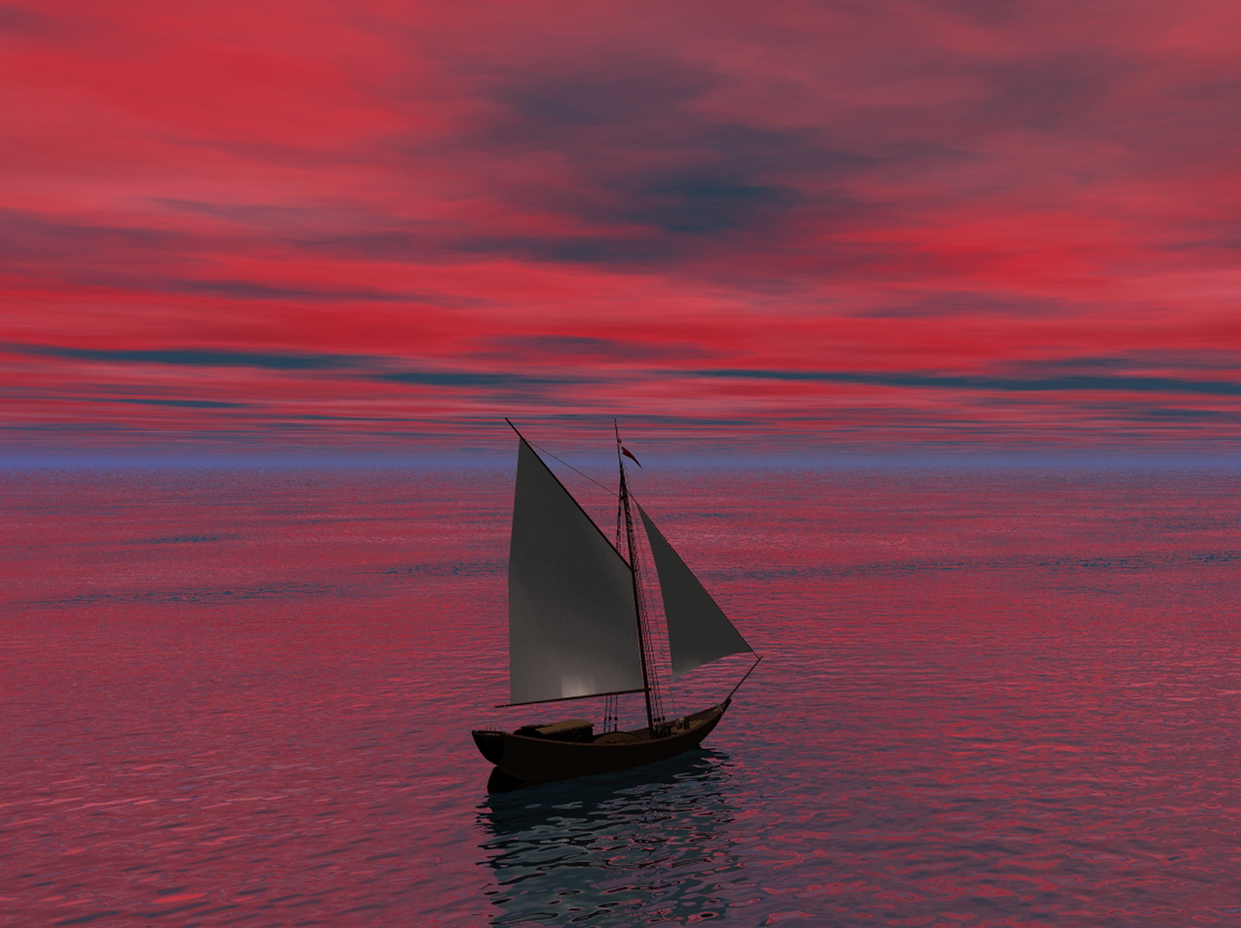 Sailing in the middle of the sea photo