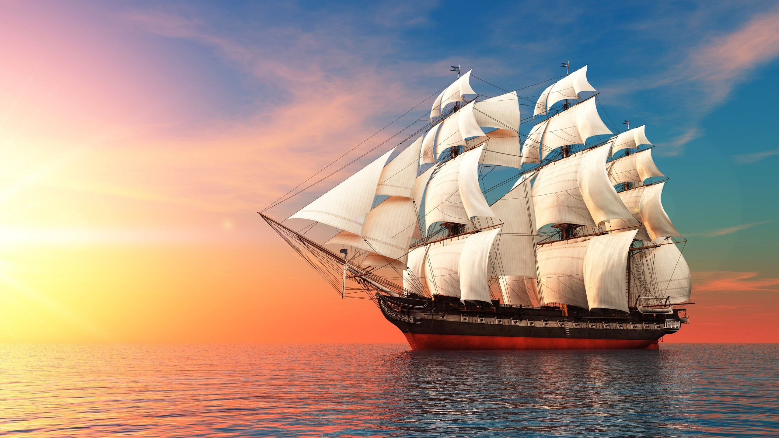 sunset ocean sailing ship free desktop backgrounds and wallpapers